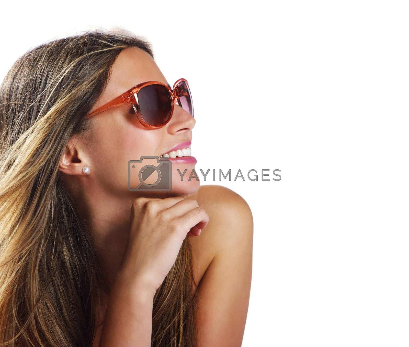 Smiling young woman with sunglasses on white background, copy space