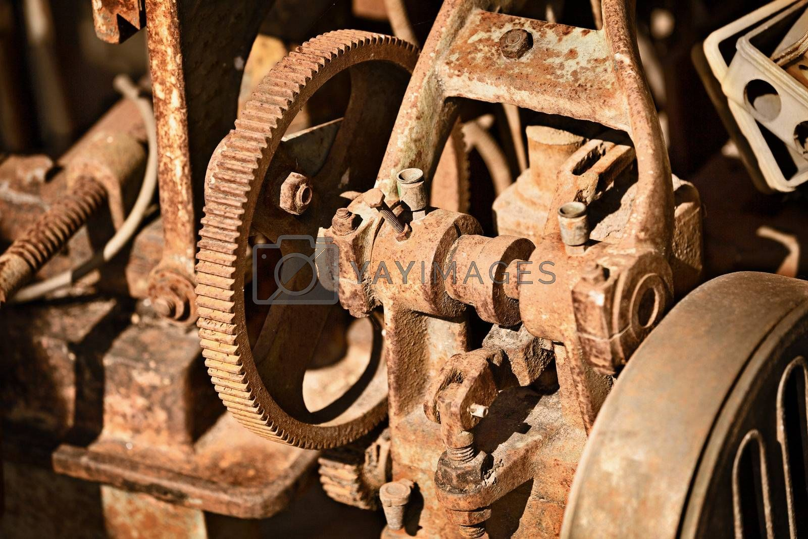 Rusty old metal mechanism - metal scrap