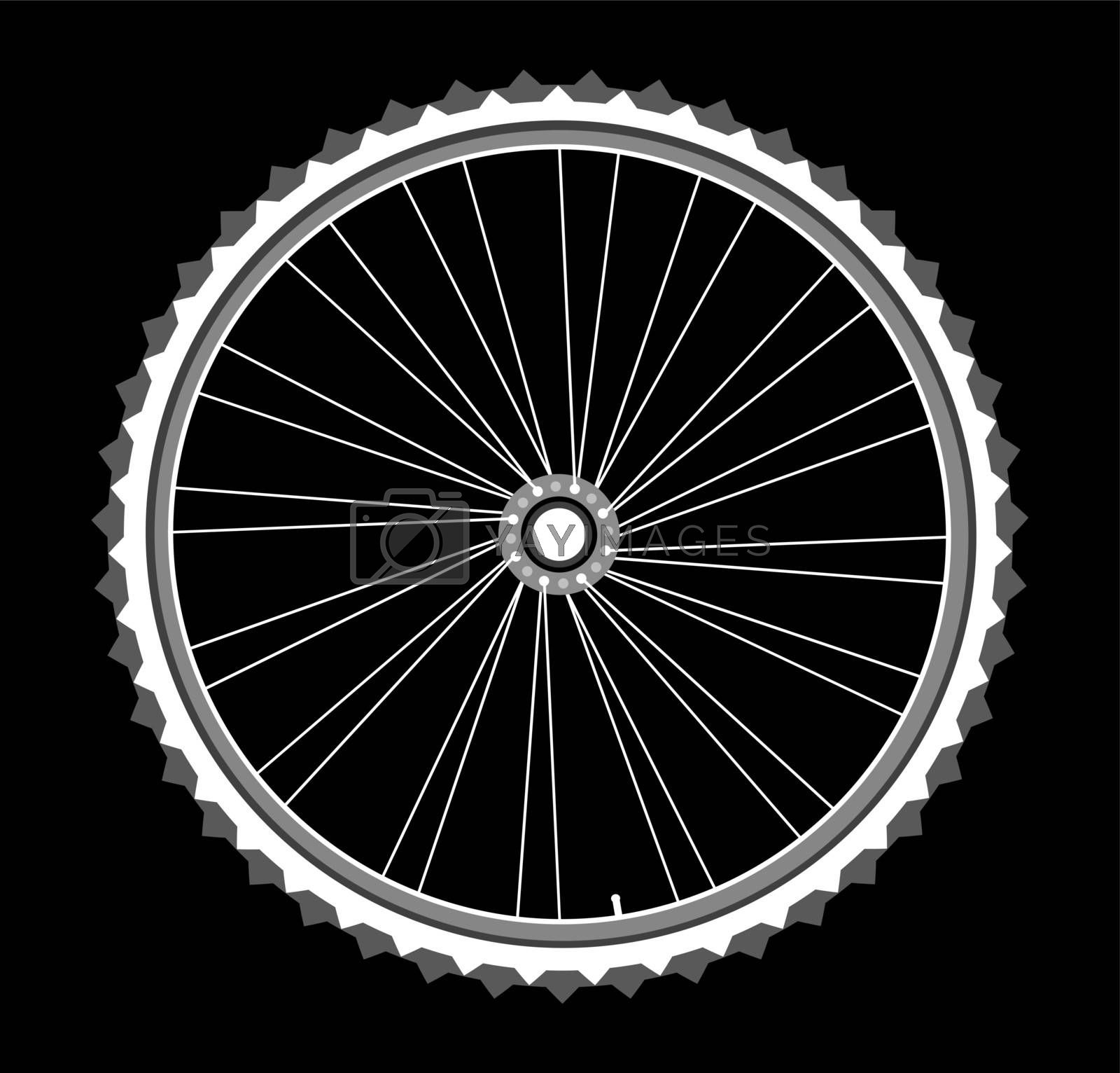 vector white bicycle wheels isolated on black background