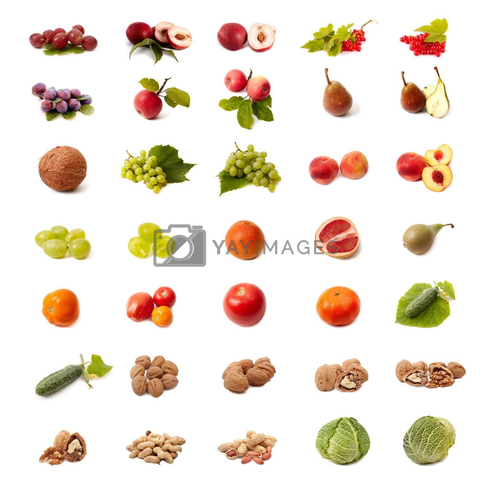 Isolated fruit and vegetable set Isolated fruit and vegetable set by Nikonas