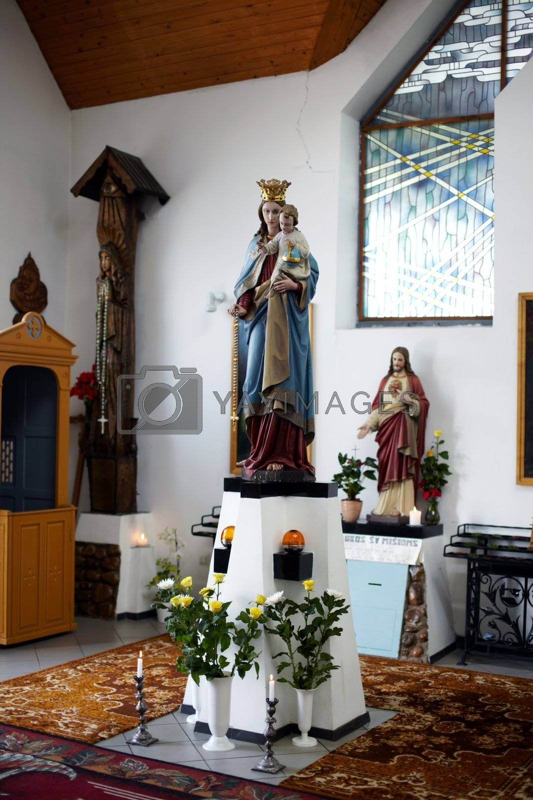 Holy Mary and little Jesus statue in chapel in Suodziai Holy Mary and little Jesus statue in chapel in Suodziai
