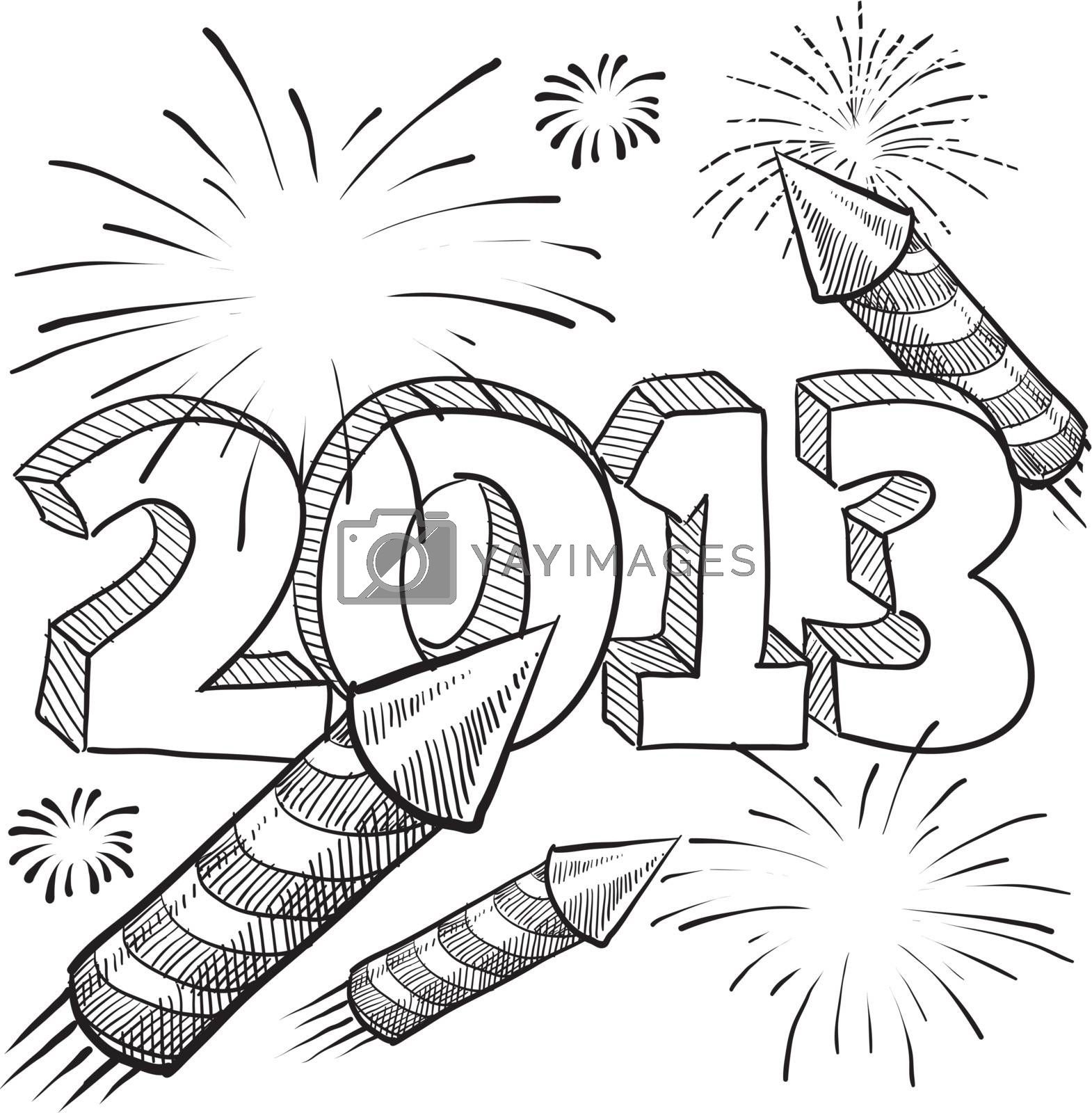 Doodle style 2013 New Year illustration in vector format with retro fireworks celebration background