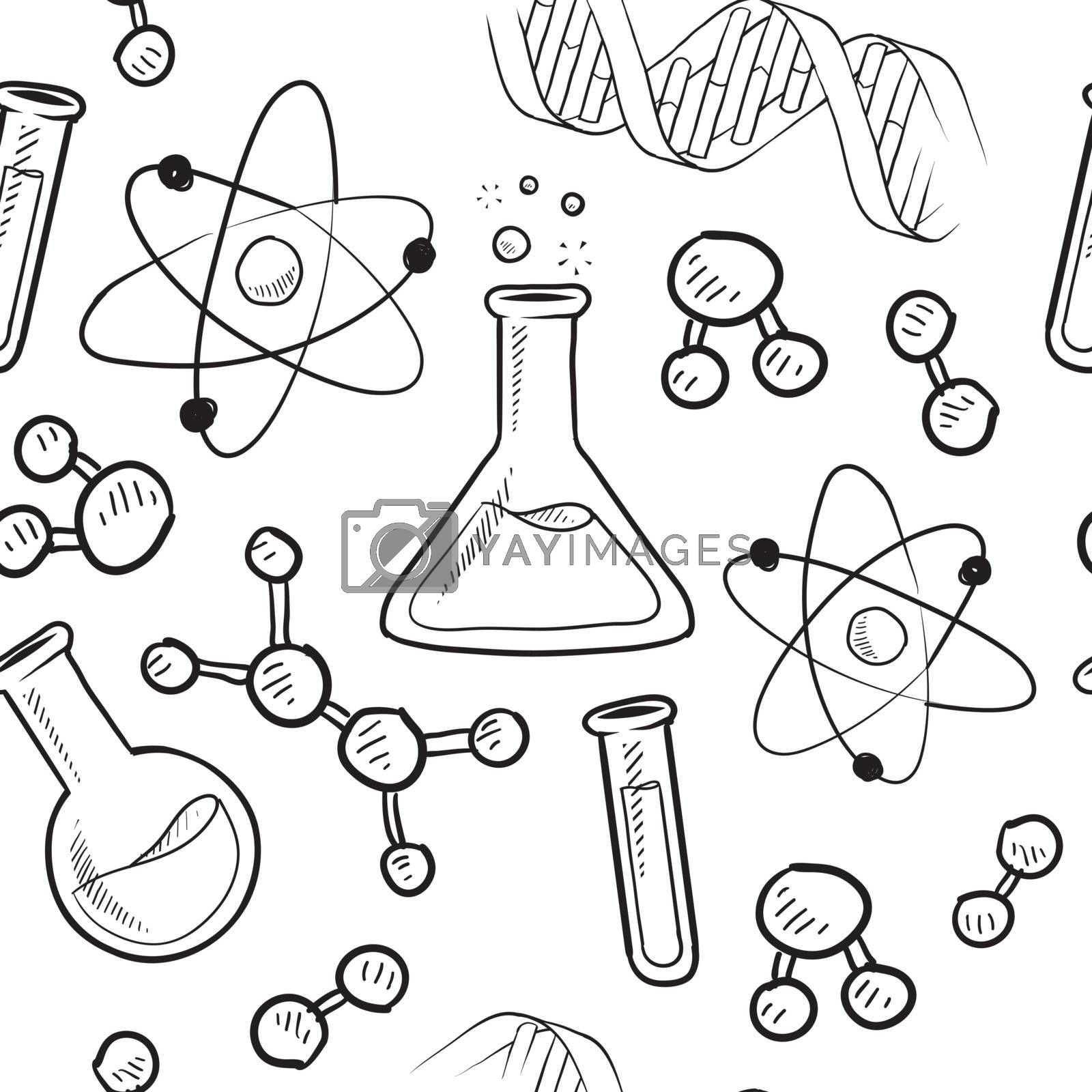 Doodle style seamless science or laborator background illustration in vector format