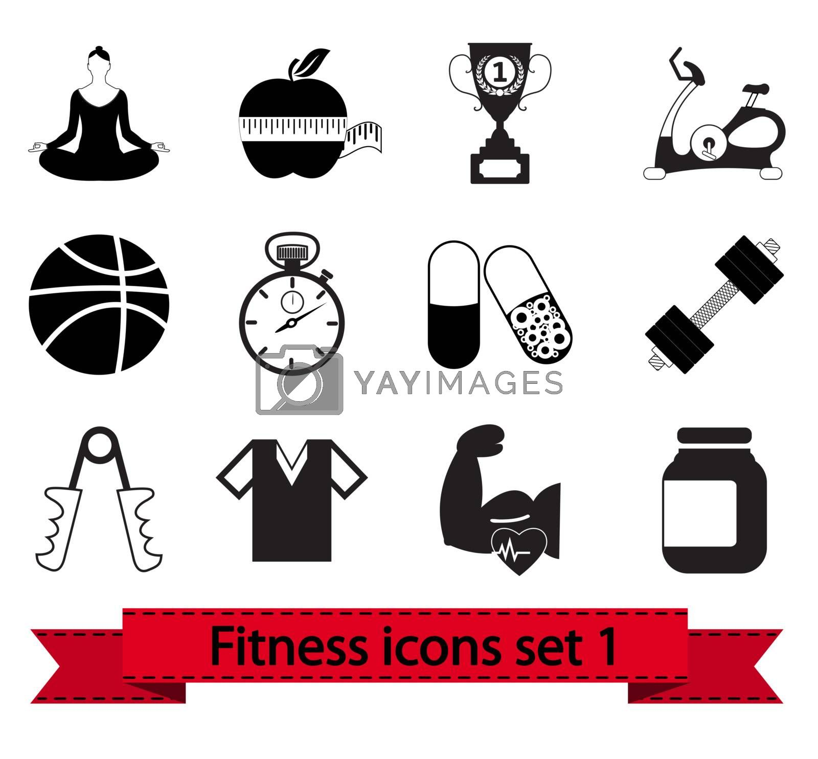 Professional fitness icons for your website. Vector illustration.