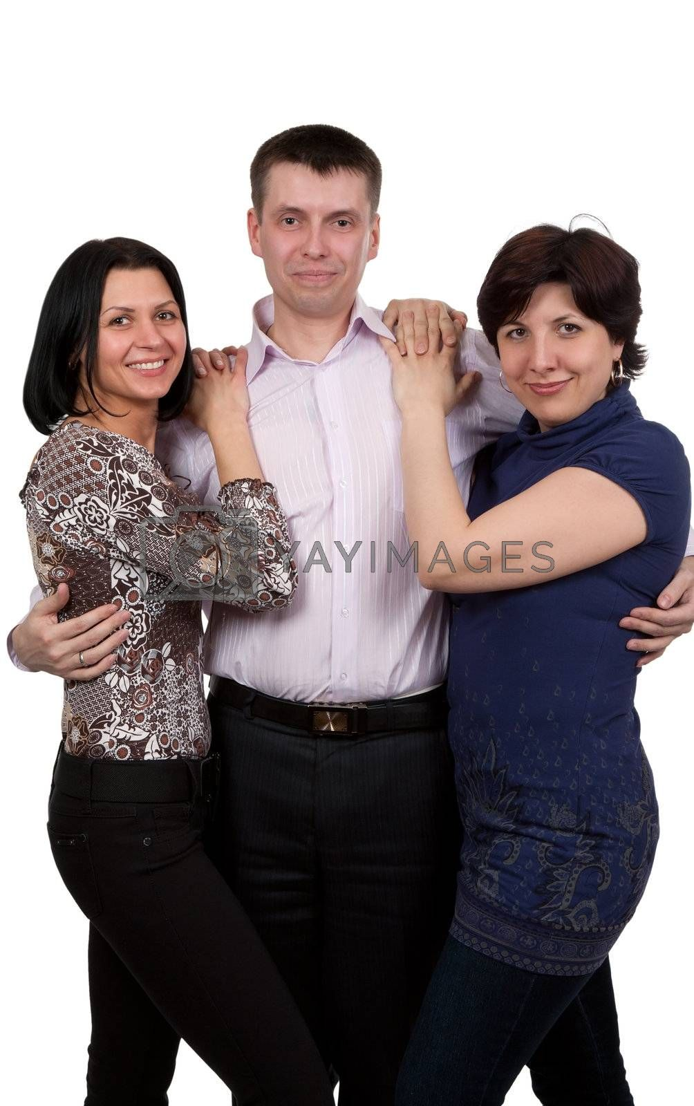 man and two women isolated on white background