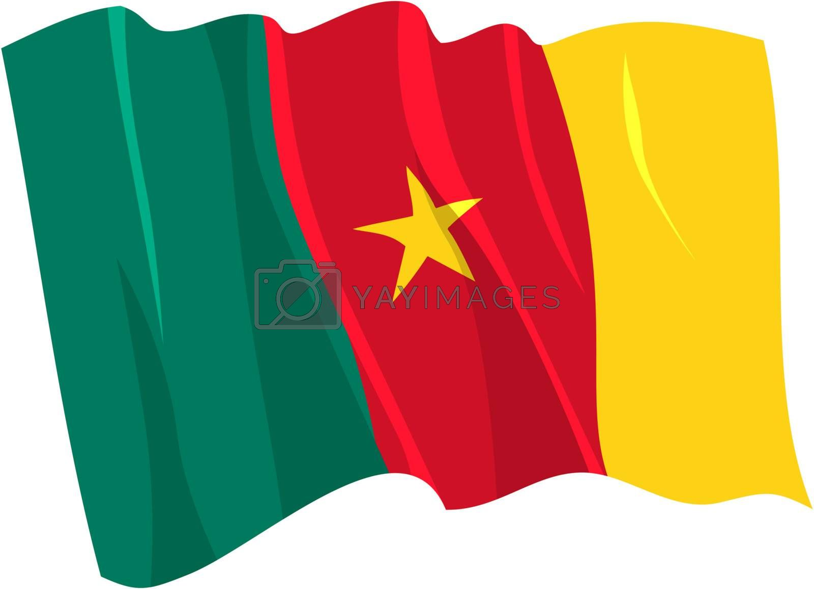 Political waving flag of Cameroon