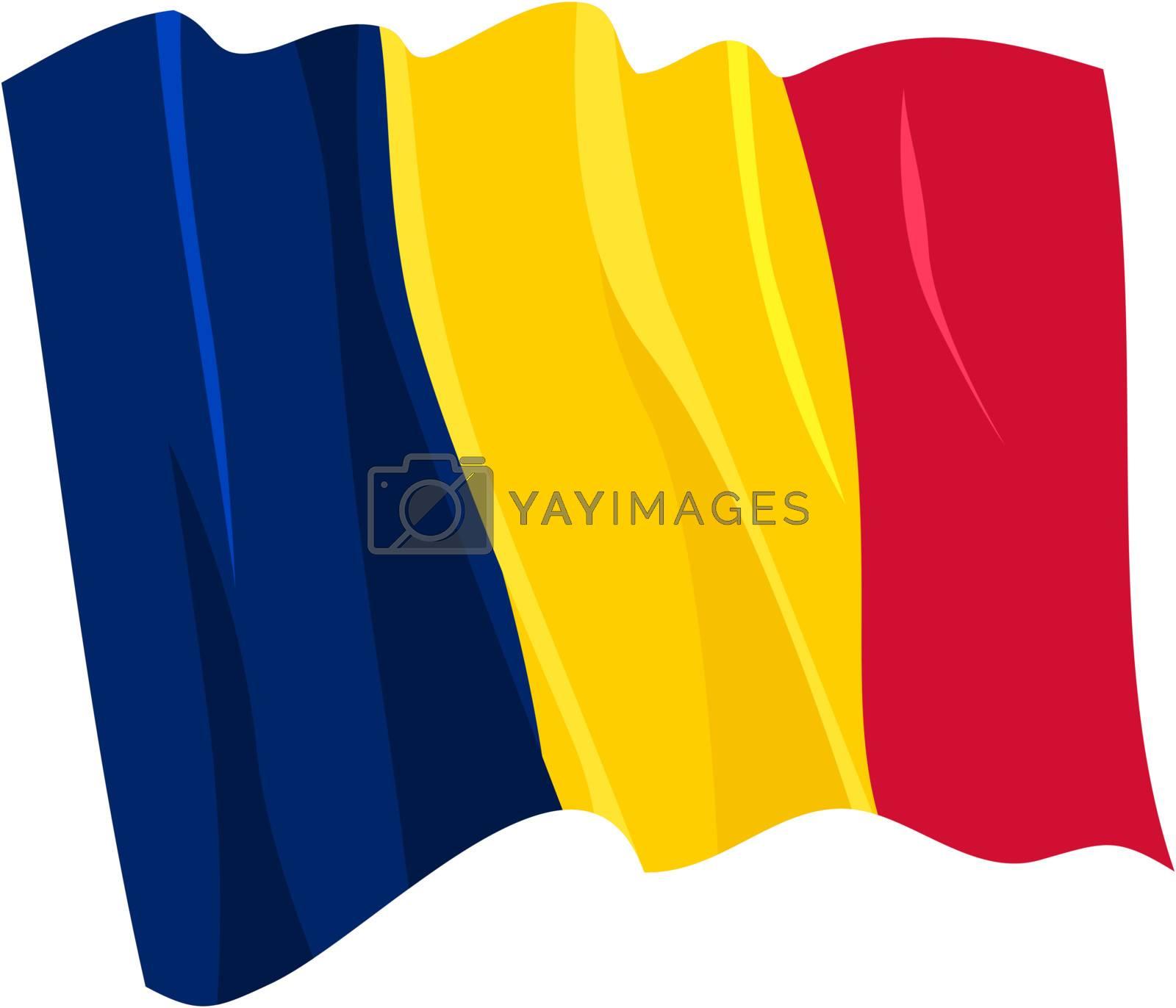 Political waving flag of Chad