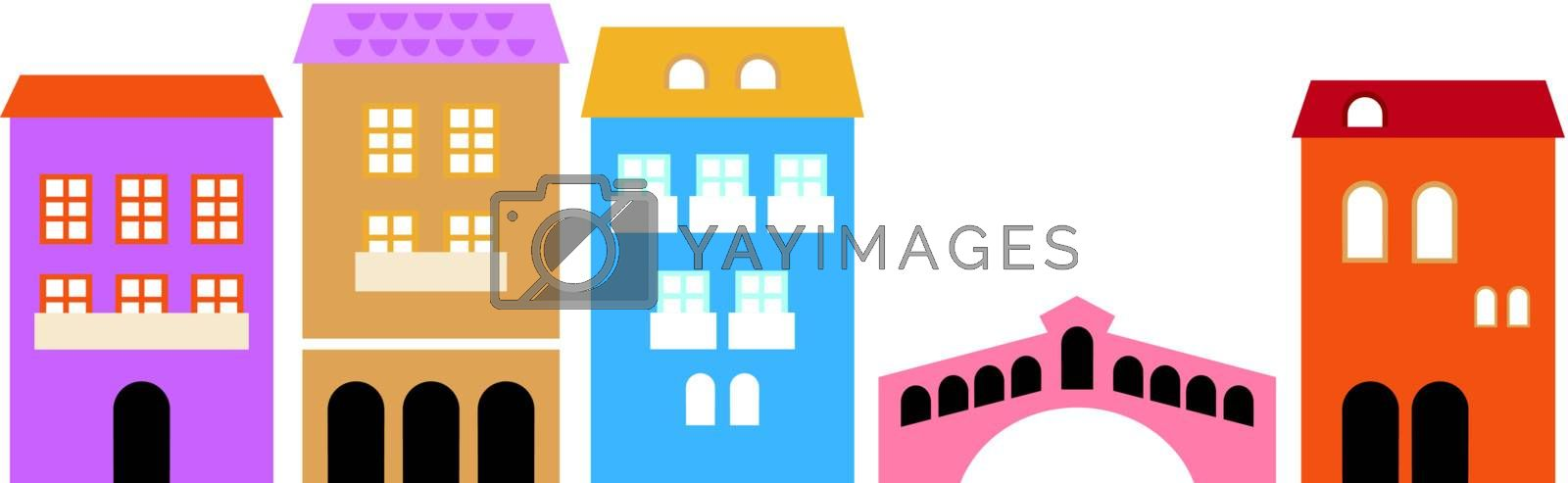Vintage italian residential houses. Vector Illustration.