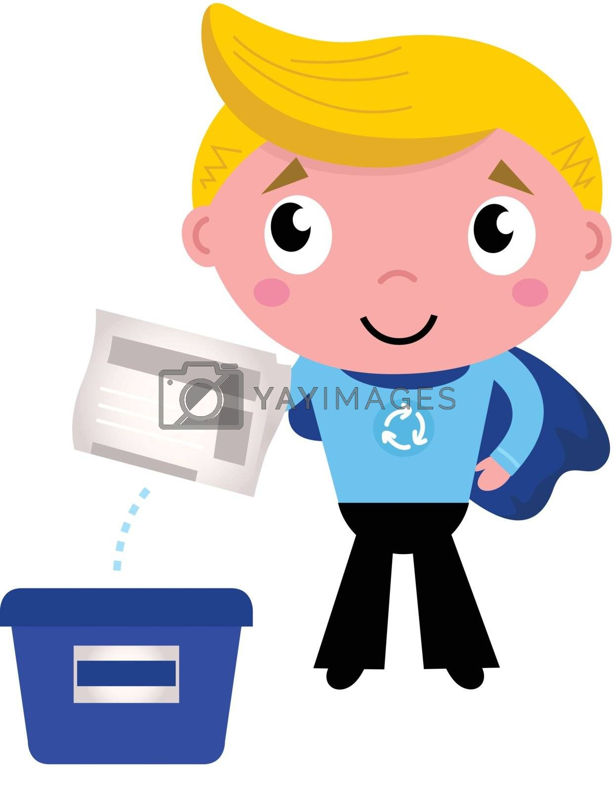 Little boy giving newspaper in recycle box. Vector Illustration