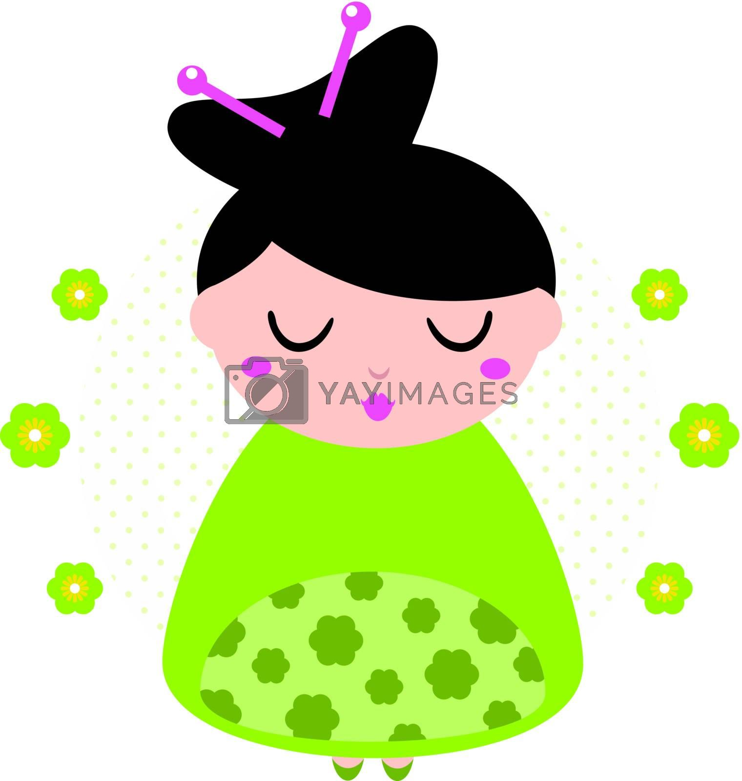 Cute beautiful spring Geisha. Vector Illustration