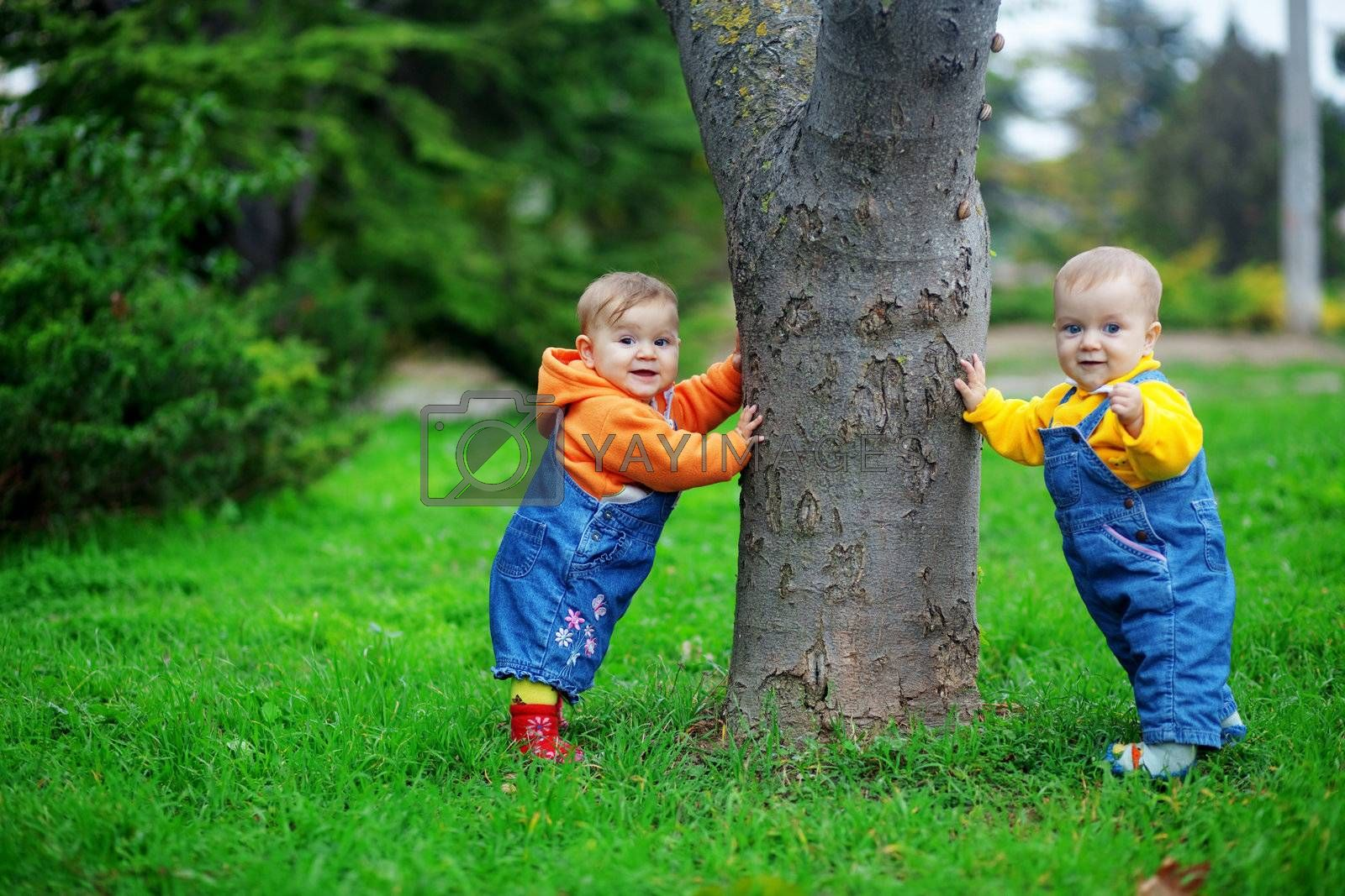 Cute twins babies standing on fresh green grass in park near tree