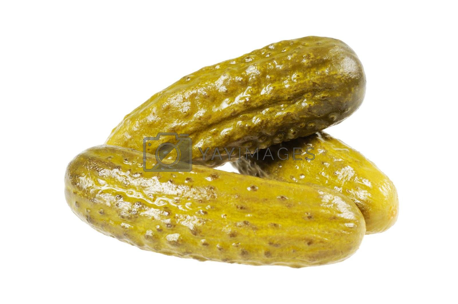 Three pickled  cucumbers.  Gherkins.  Isolated  on white.