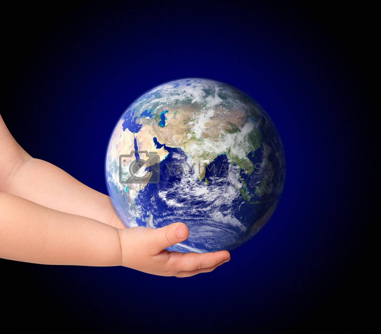 Little girl hold globe on black (Elements of this image furnished by NASA)