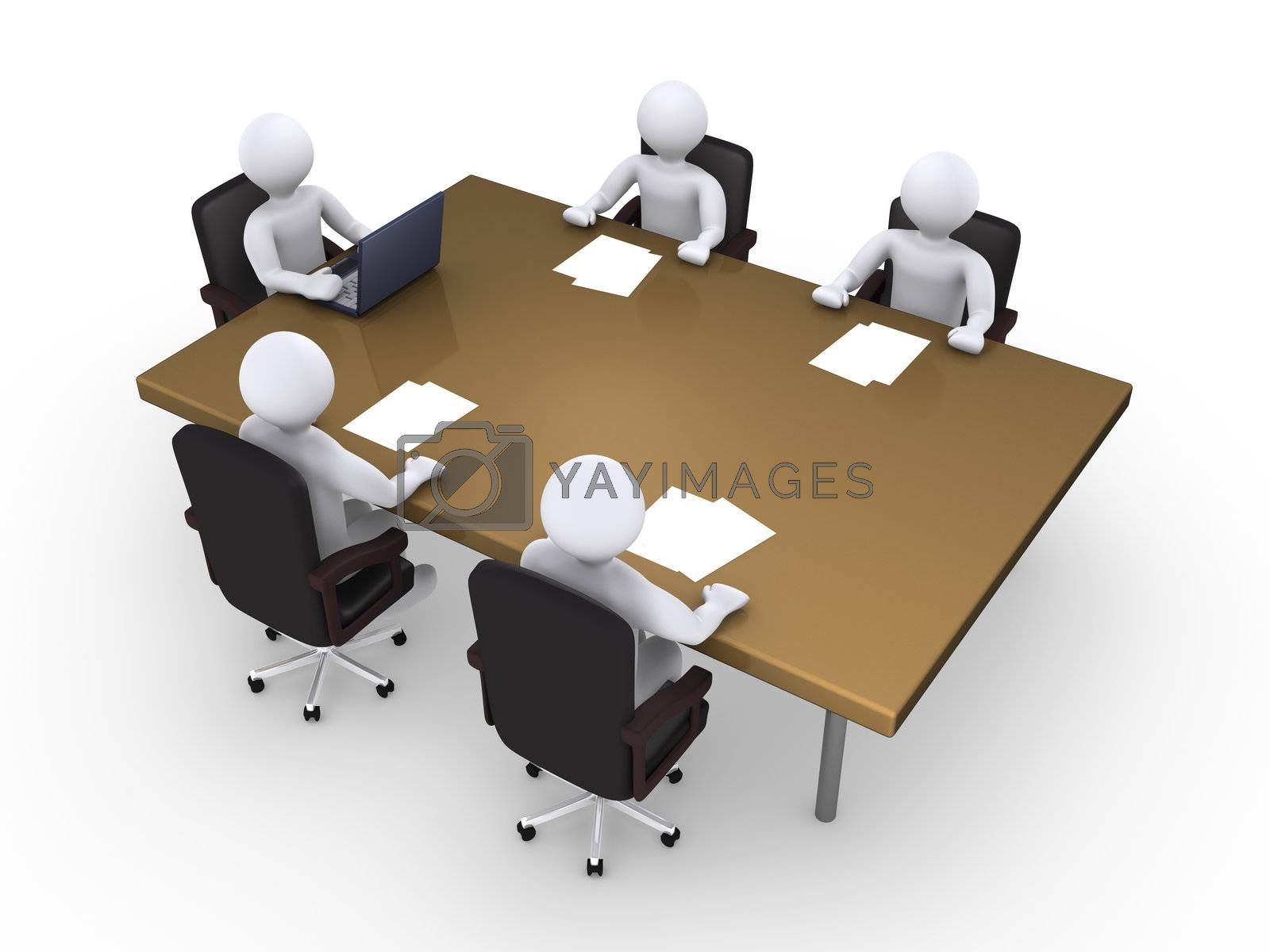 Business meeting between five 3d people
