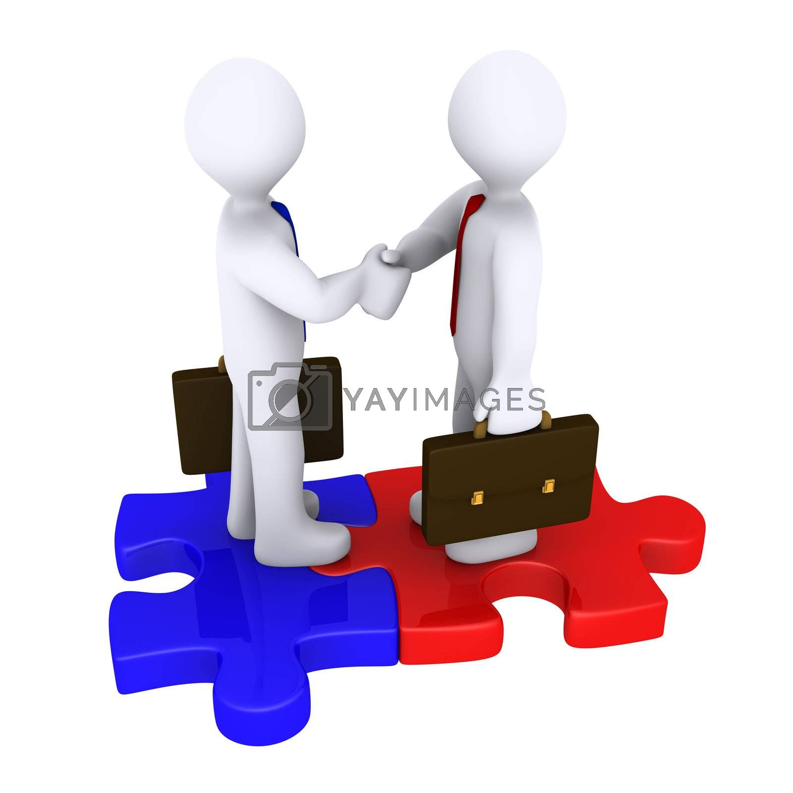 Handshake between two 3d businessmen standing on puzzle pieces