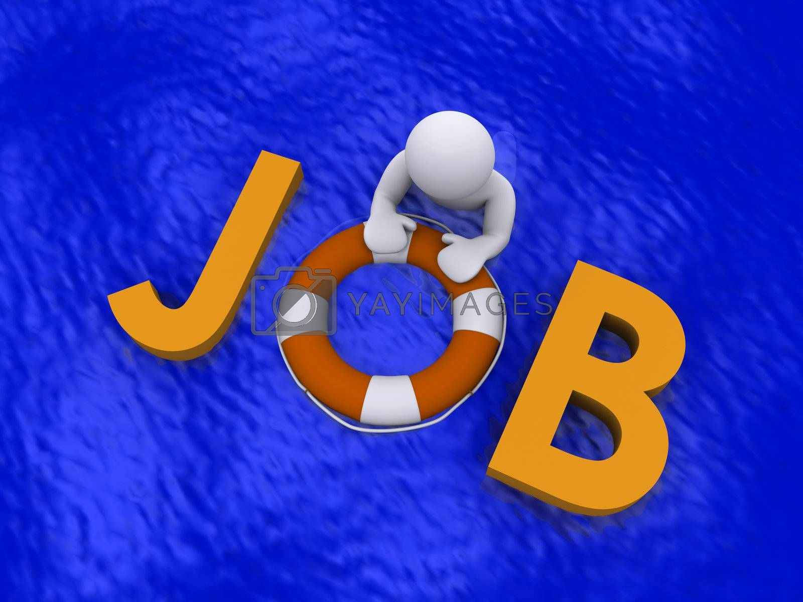 3d person in the sea holding job letters