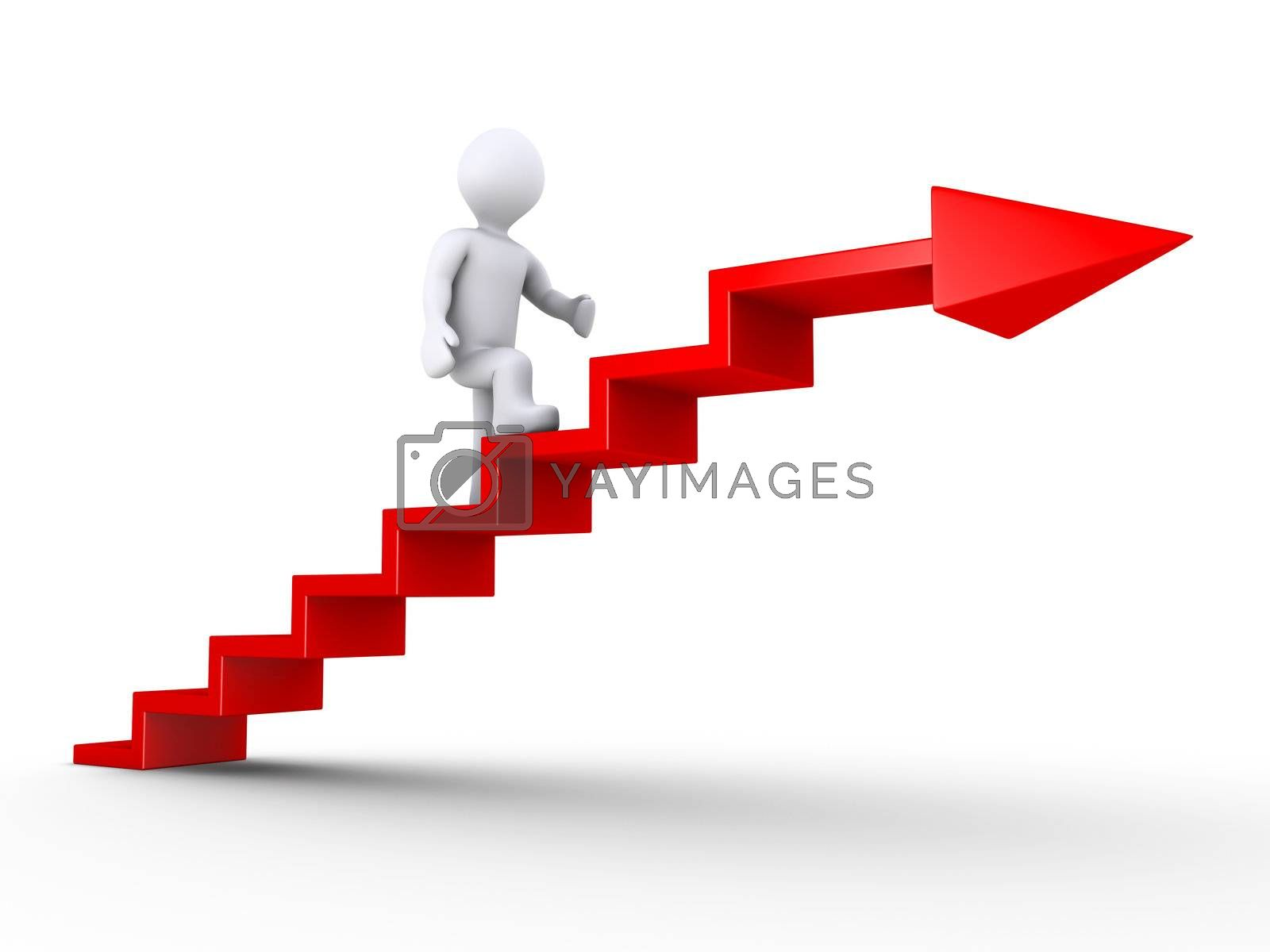 3d person climbing red stairs with arrow