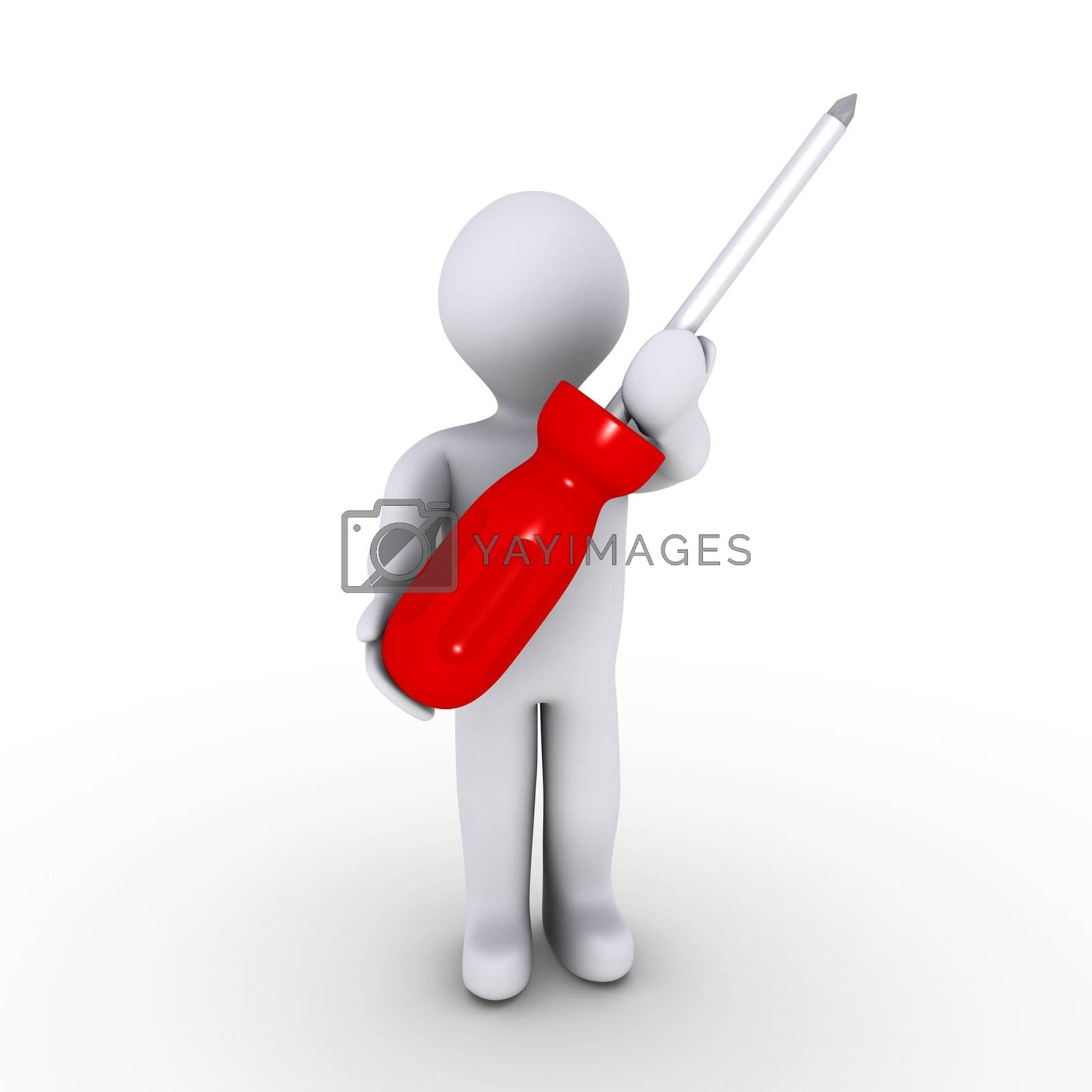 3d person holding a red screwdriver