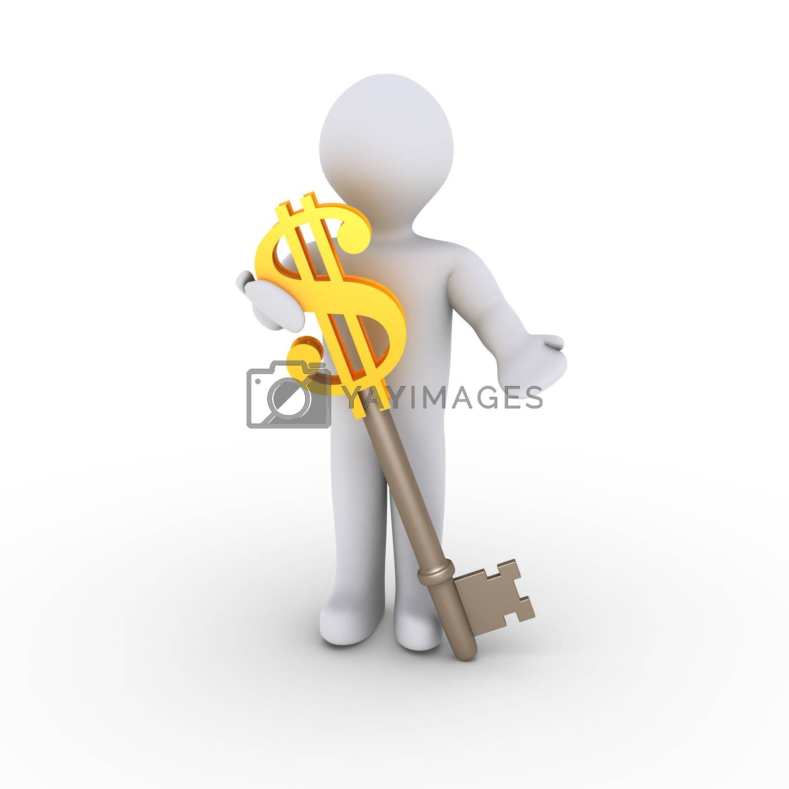 3d person holding a key which has a dollar symbol