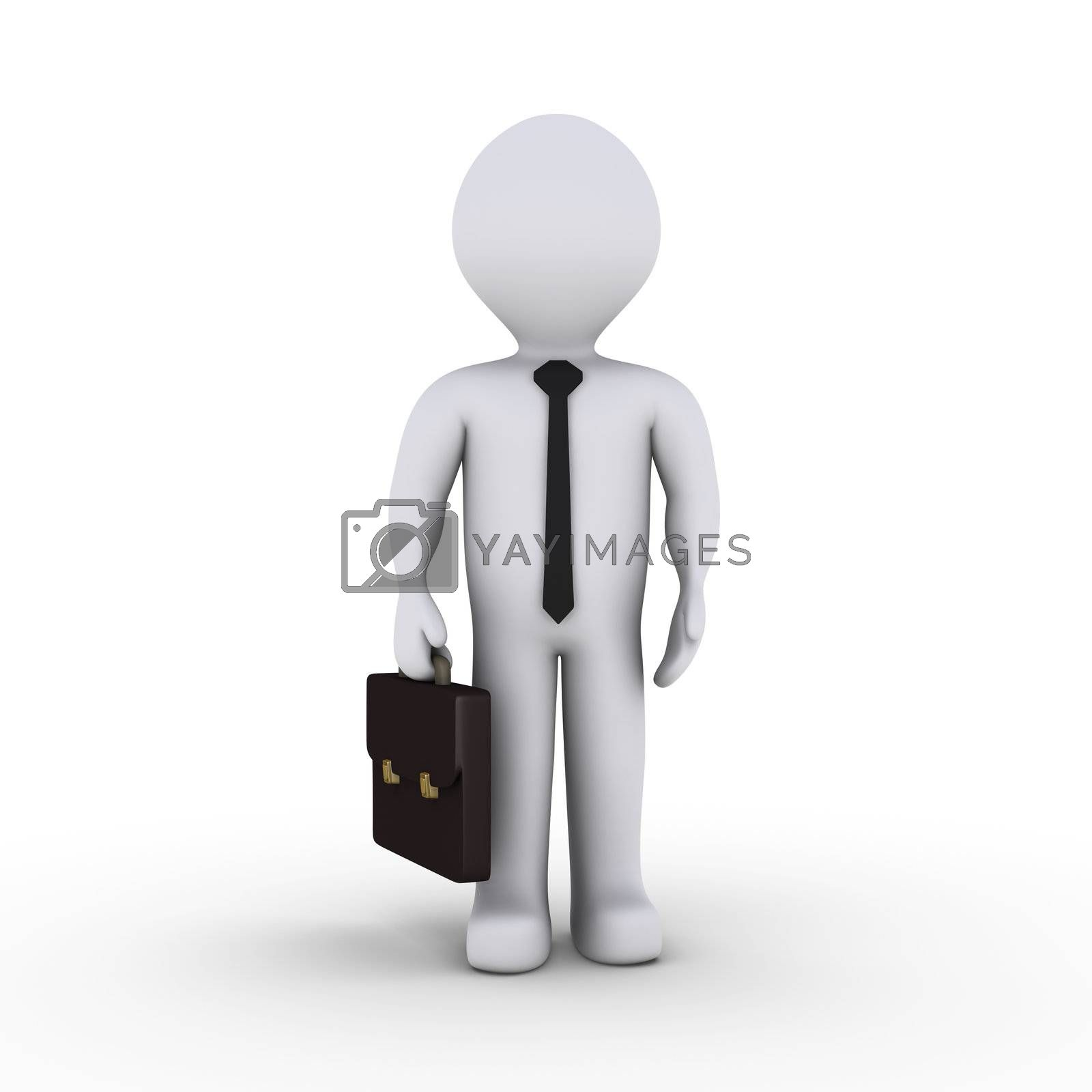 3d businessman holding a suitcase