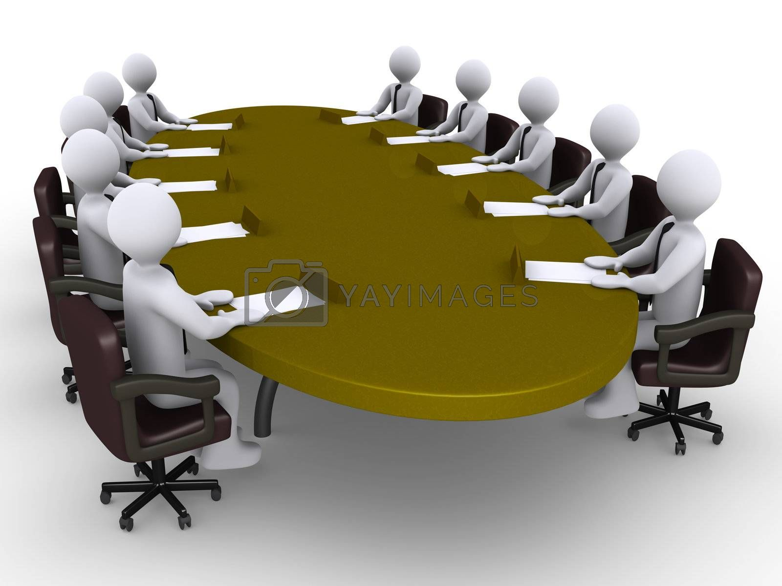 Businessmen sitting around an oval table as a conference