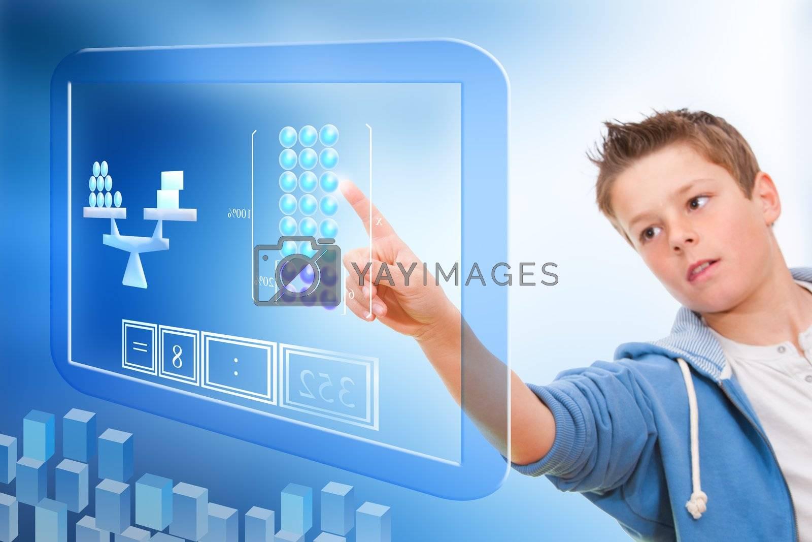 Young student touching virtual digital futuristic screen.