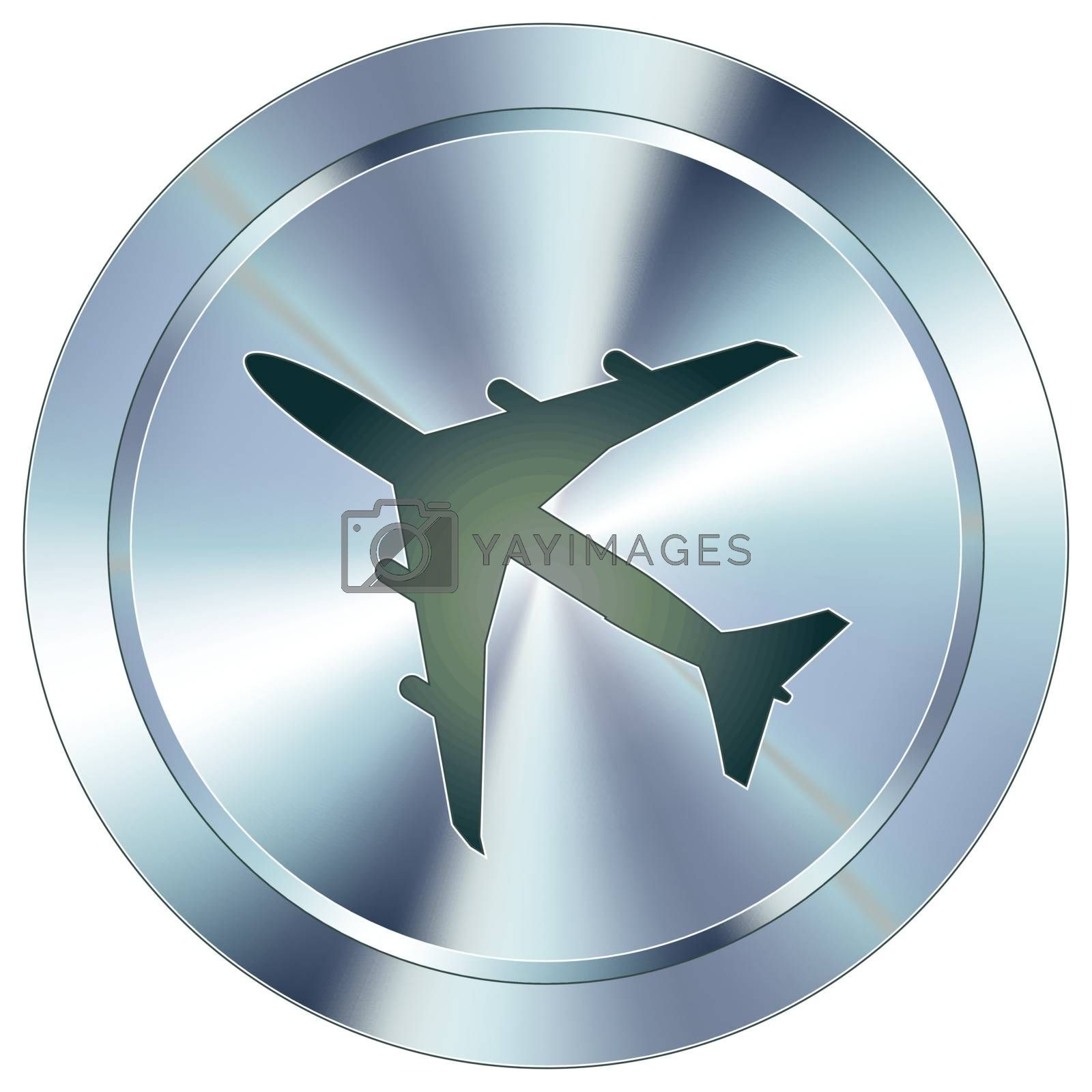 Airplane or airport icon on round stainless steel modern industrial button