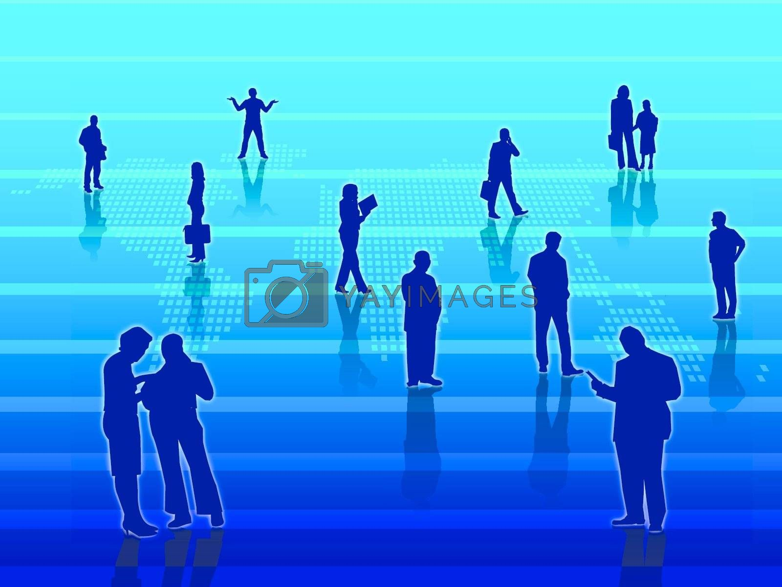 Business people around the world in blue background