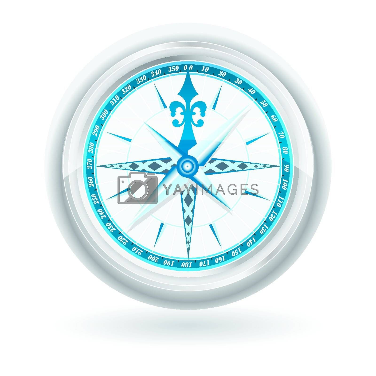 Glossy Compass with windrose. Vector Illustration by nirots