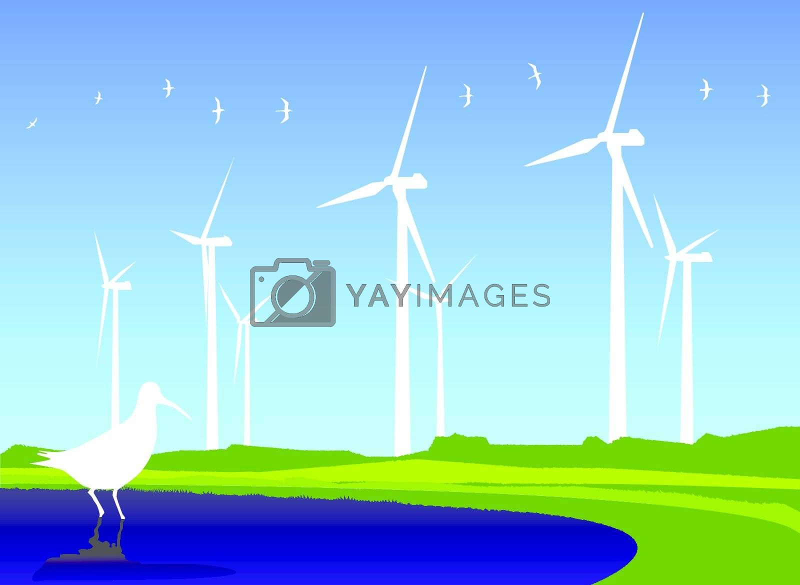 Royalty free image of Fields of wind turbines by nirots