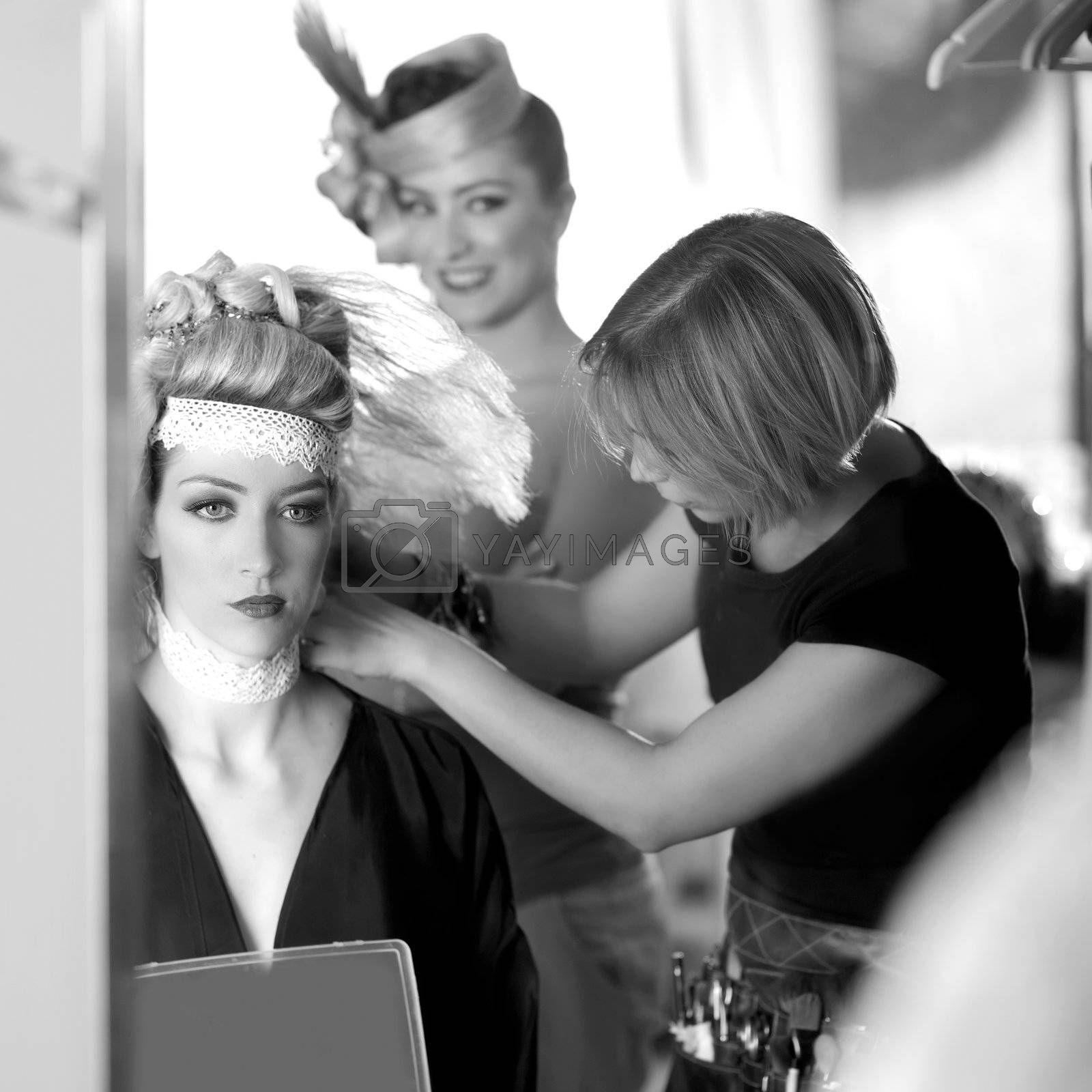 backstage hairdressing fashion with make-up artist by lunamarina