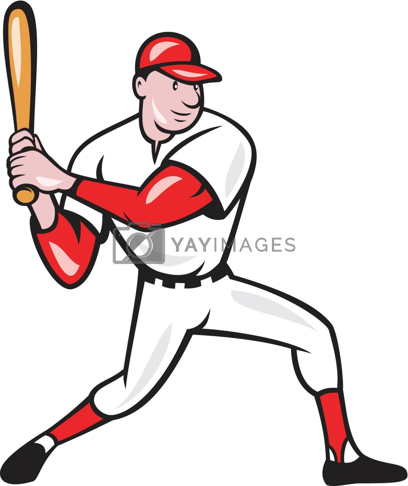 Illustration of a american baseball player batting cartoon style isolated on white background.