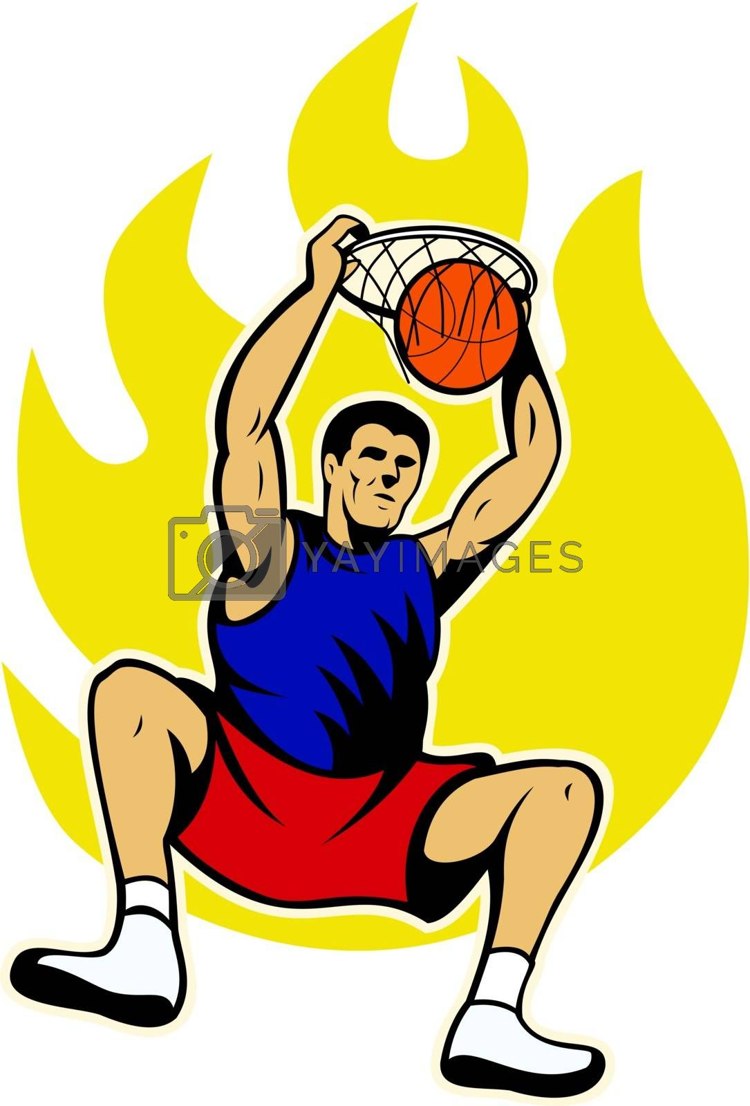 Illustration of a basketball player dunking ball with fire fireball on isolated white background.