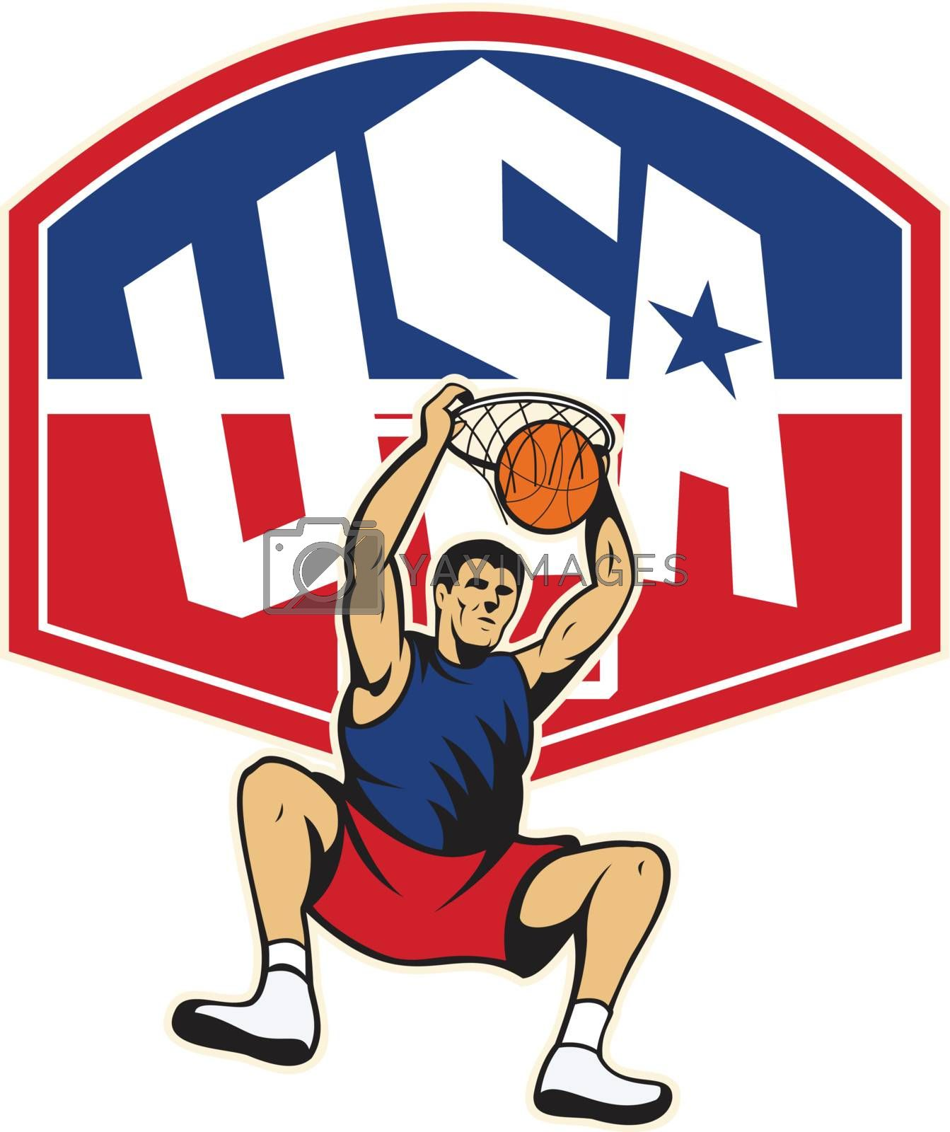 Illustration of a basketball player dunking ball hanging on hoop with backboard and words USA on isolated white background.