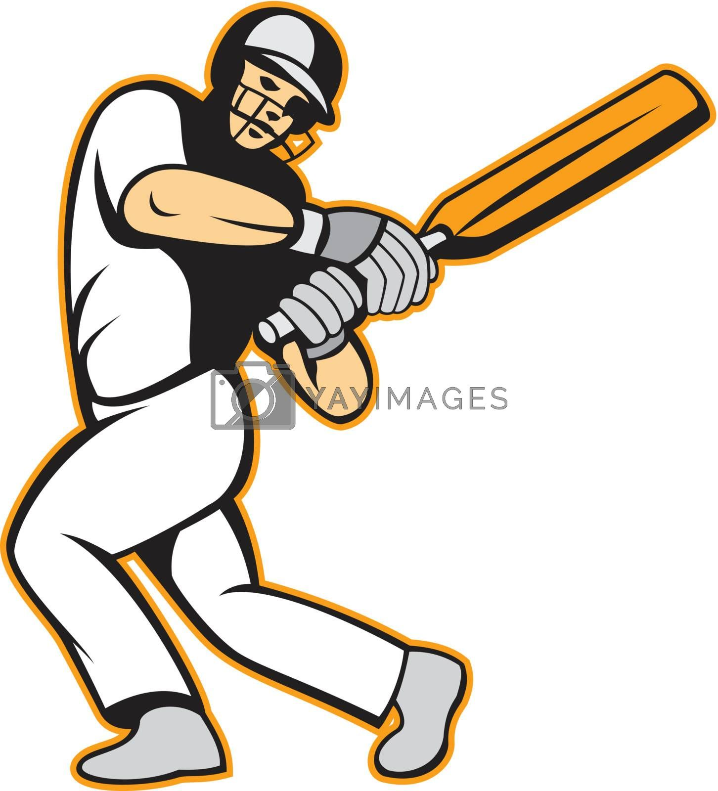 Illustration of a cricket player batsman with bat batting in background isolated on white.