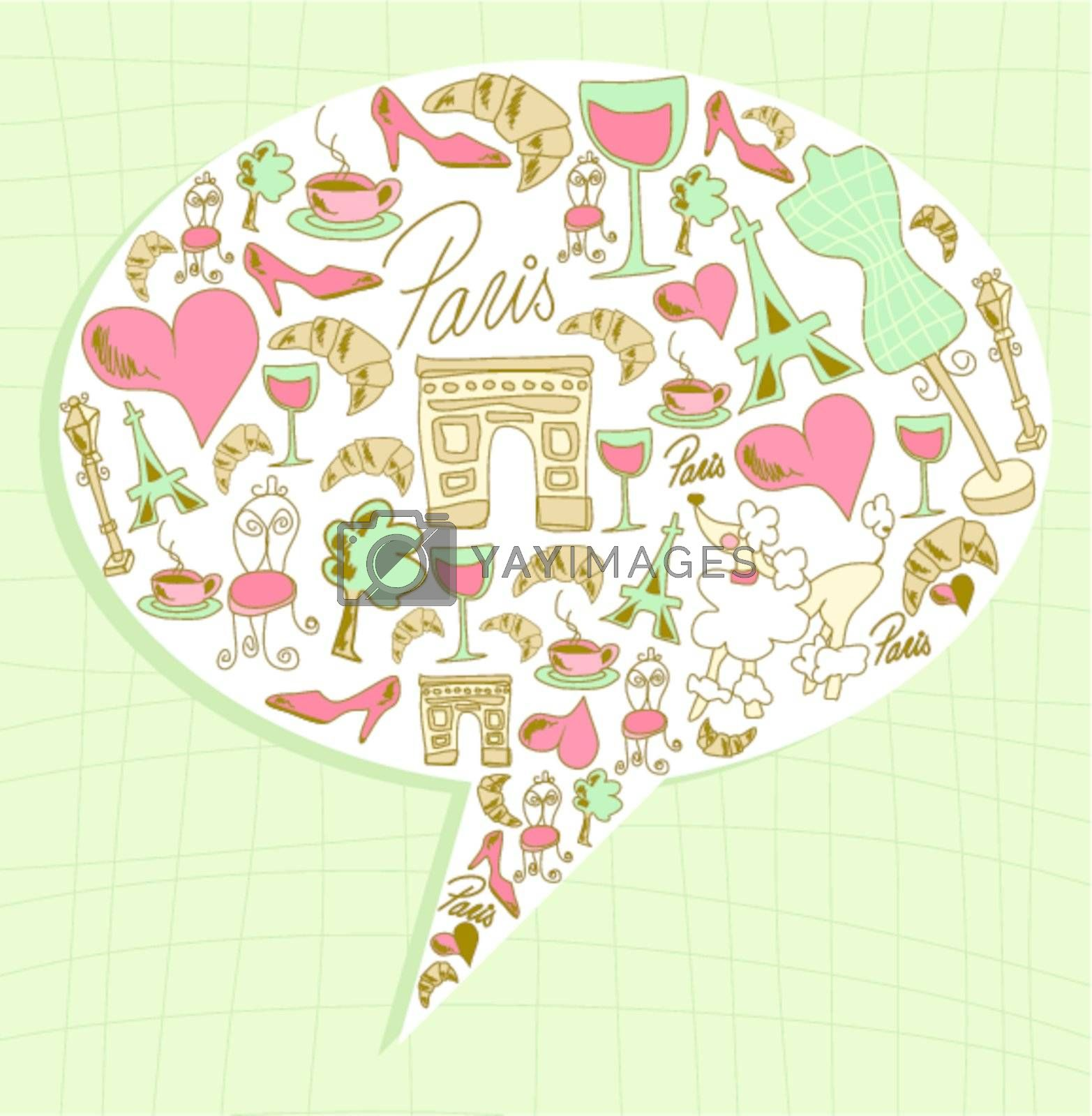 Hand drawn travel paris icon set in social media bubble. Vector file layered for easy manipulation and custom coloring.