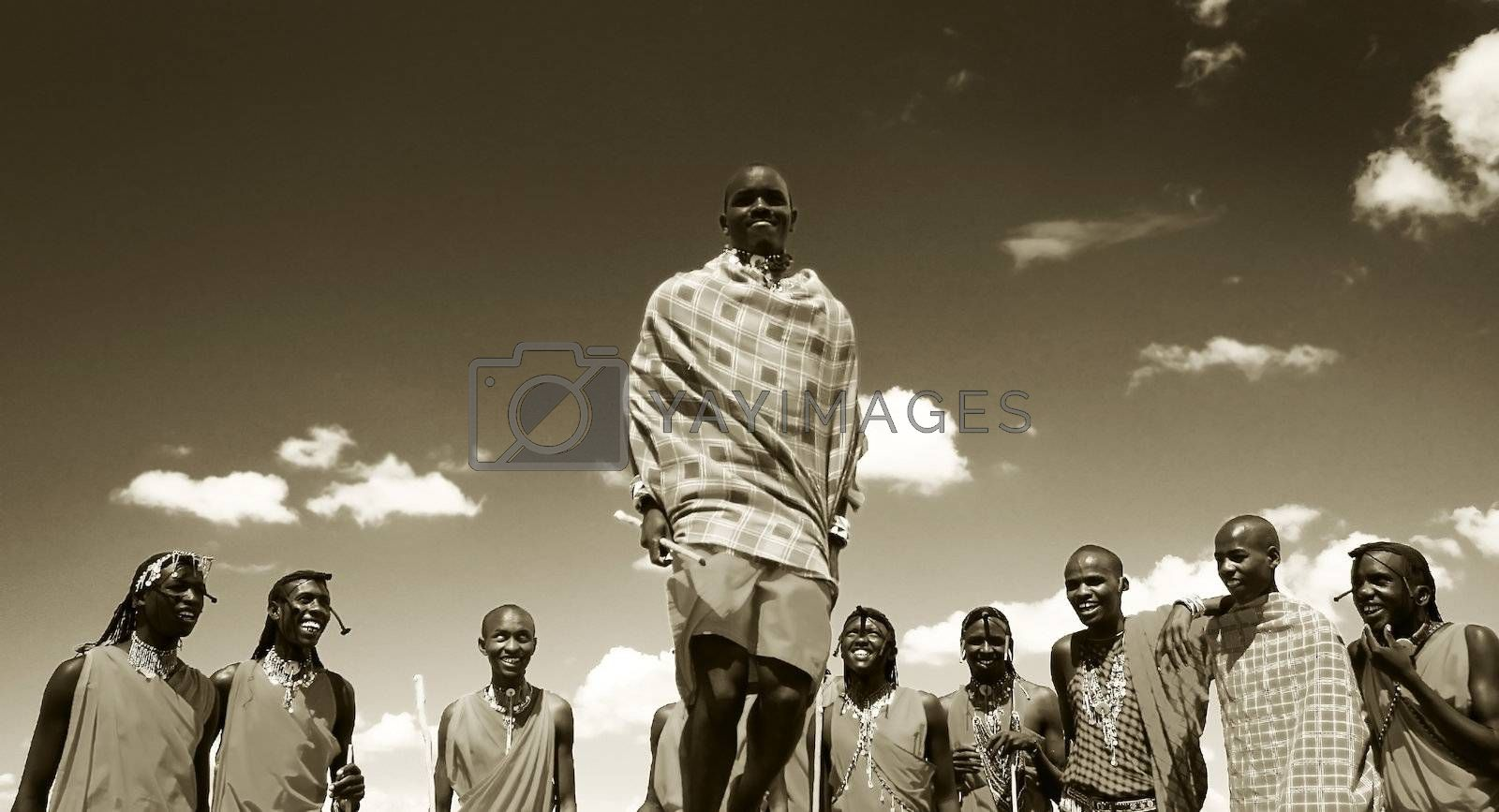 African traditional jumps, Masai Mara warriors dancing, Kenya