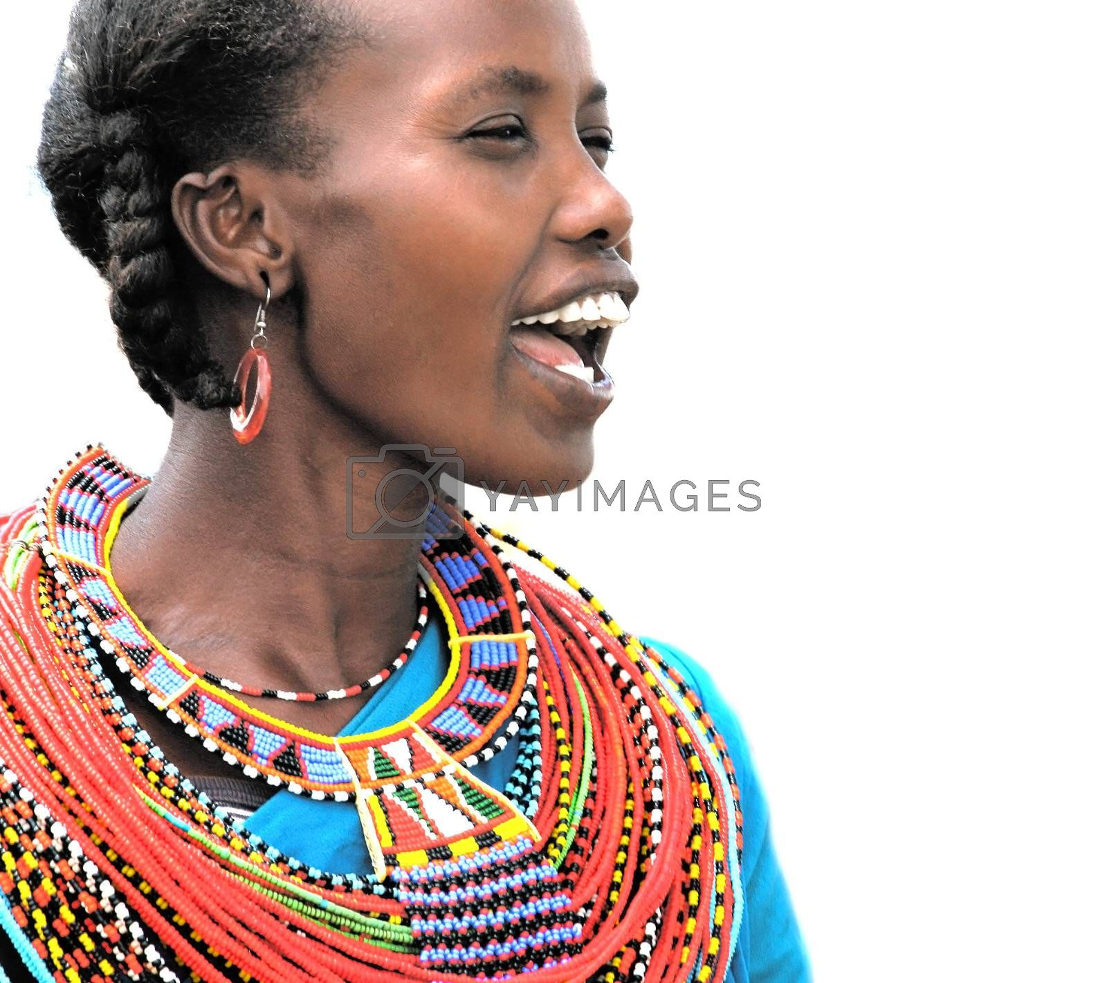 Portrait of an African woman that dressed traditionally