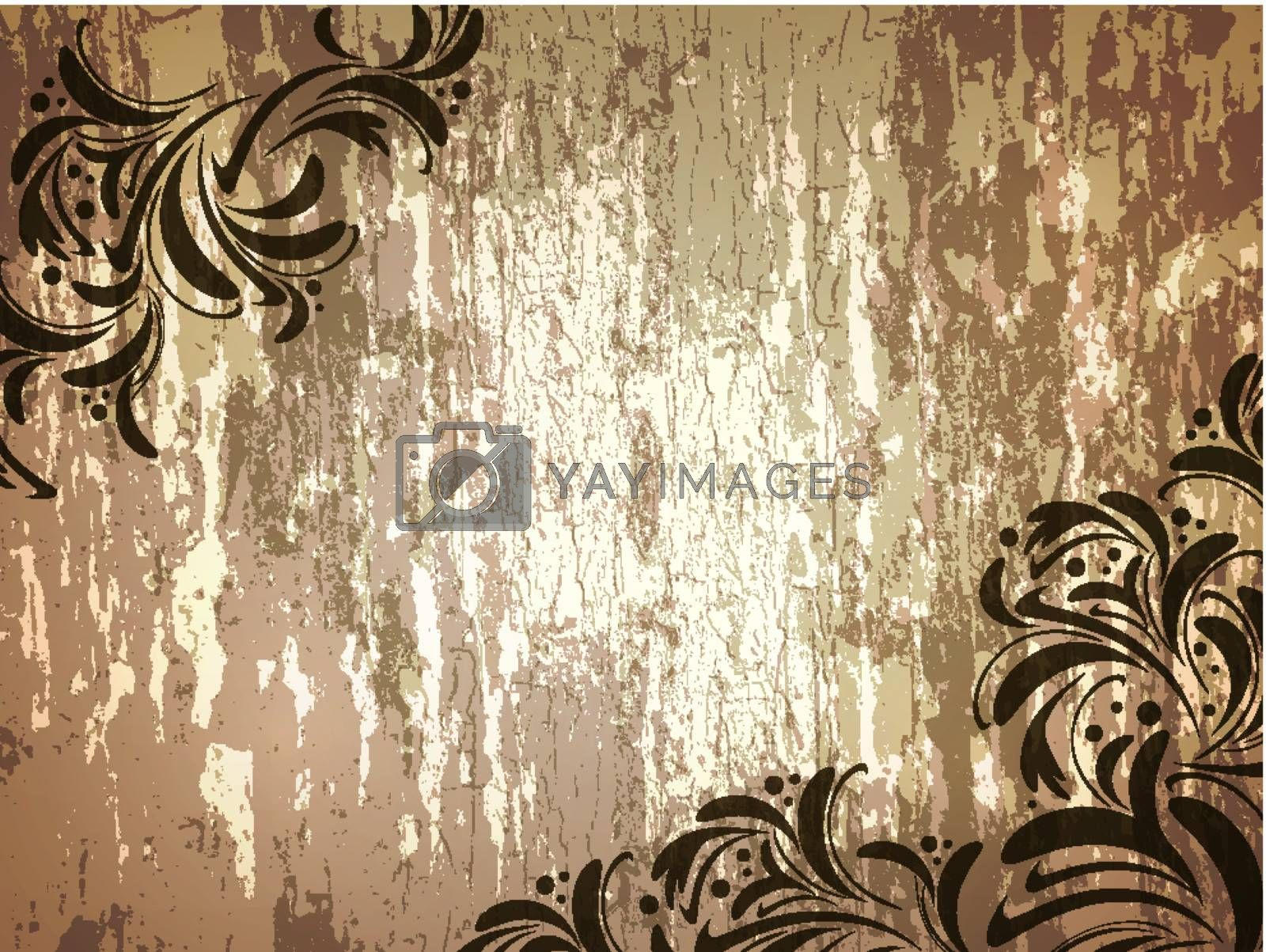 wooden background with floral frame and copyspace