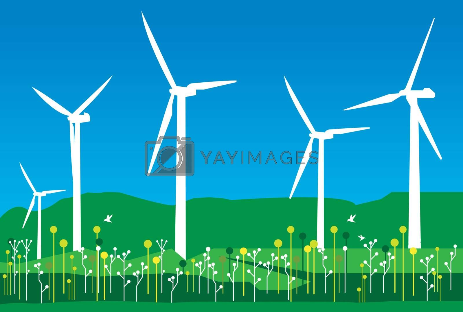 Royalty free image of Wind Field, mountains and flowers graphics by nirots