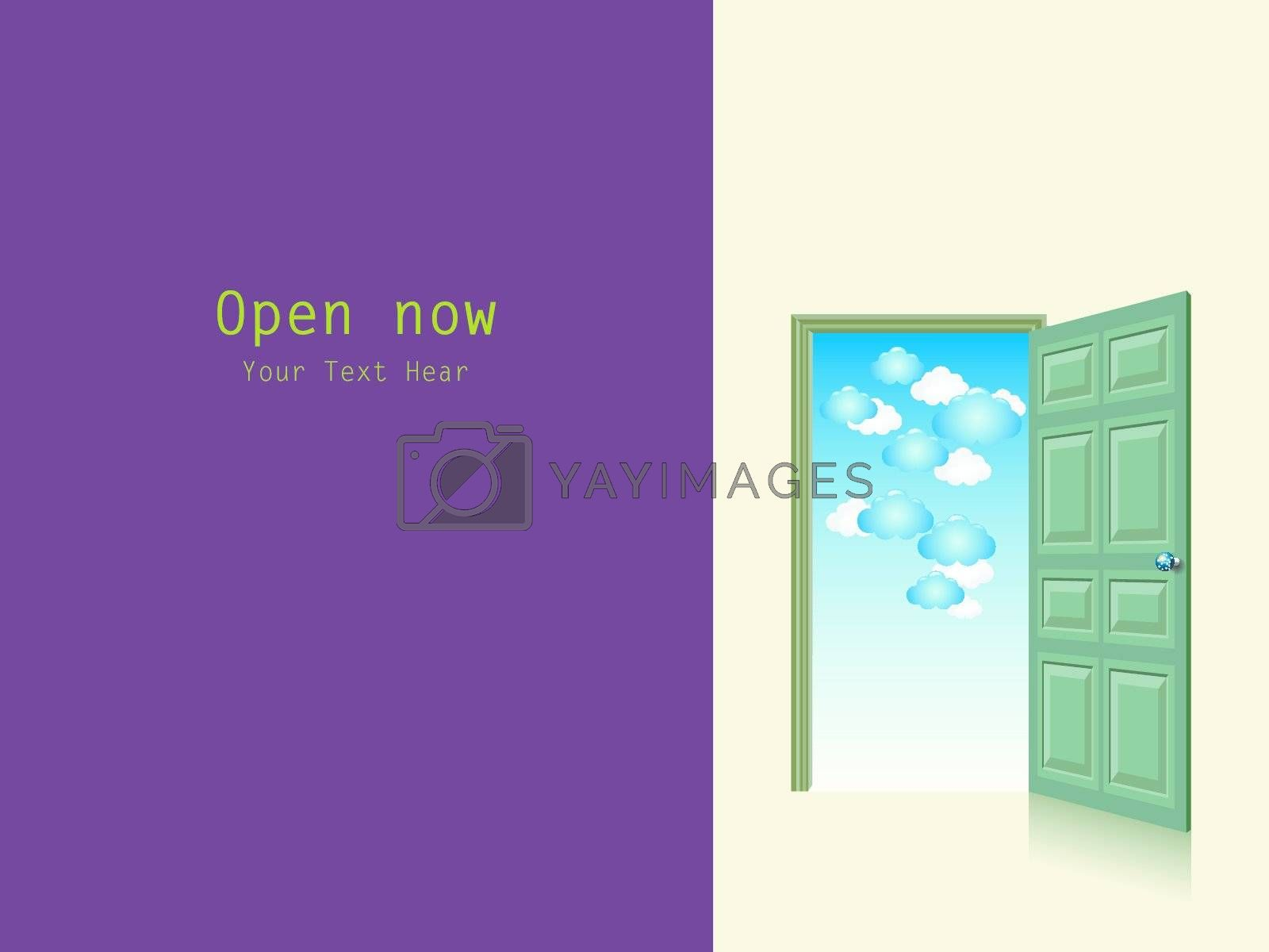 Opened door with cloudy sky vector with copy space