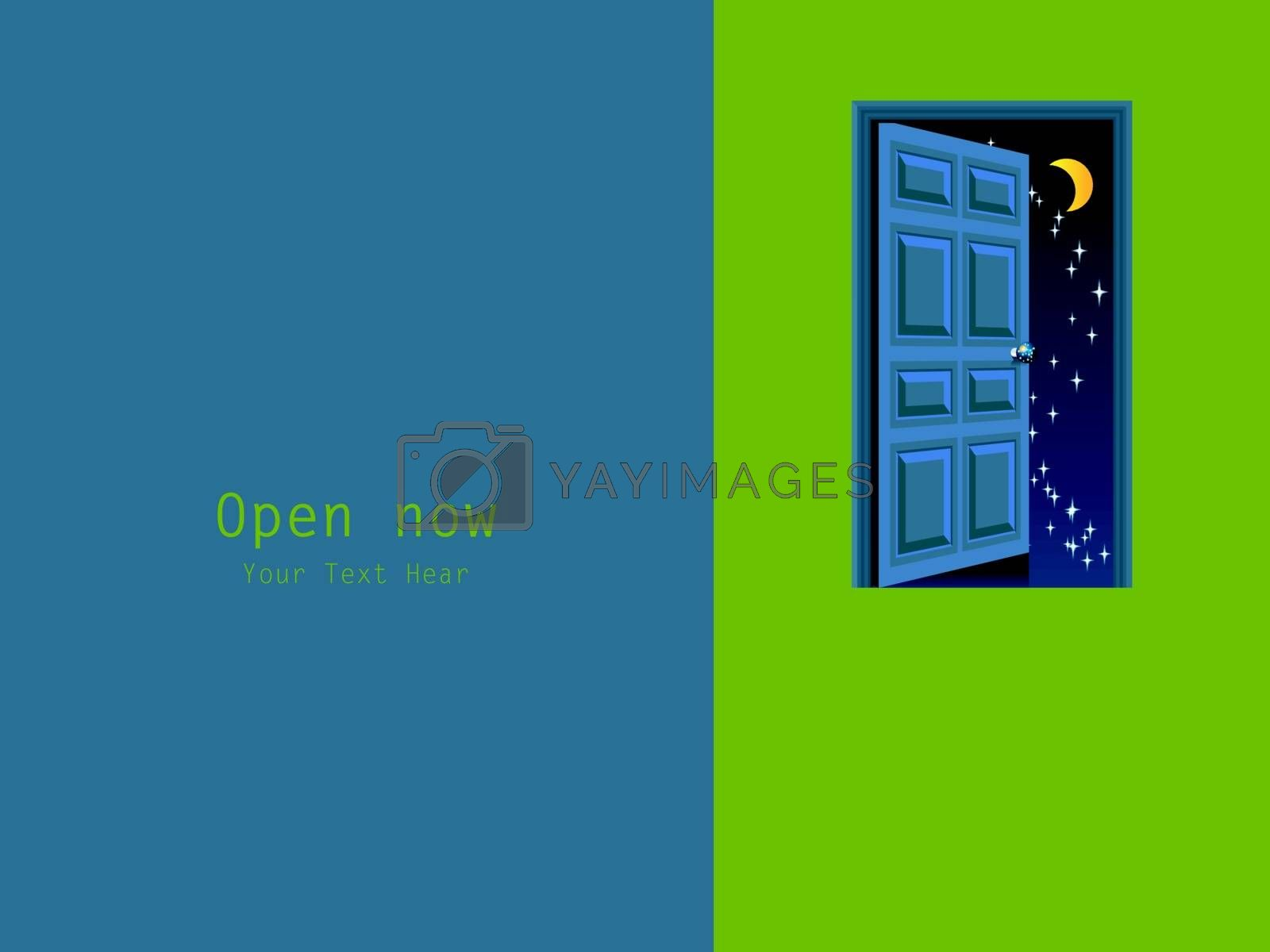 Royalty free image of Opened door with cloudy sky vector with copy space by nirots