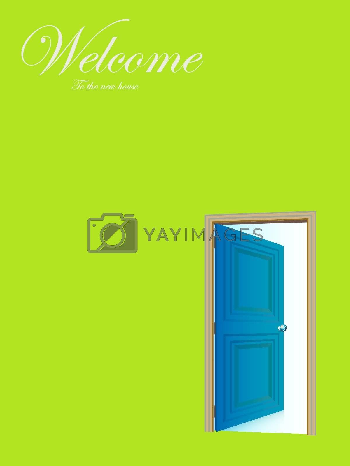 Opened door vector with copy space