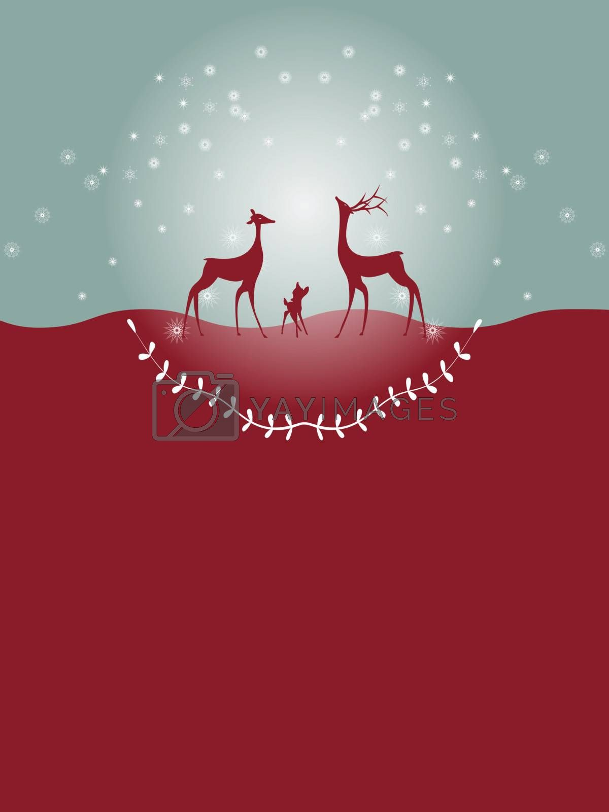 Christmas card with gold reindeer by nirots