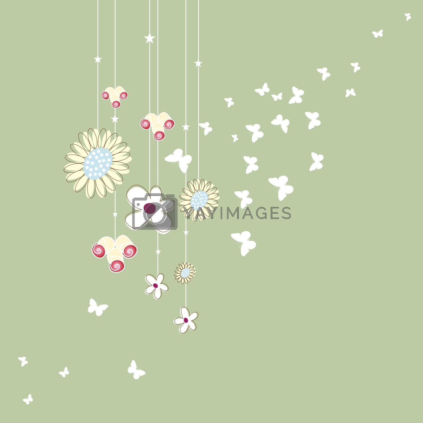 Royalty free image of Graphics, grass, flowers and butterflies hanging by nirots