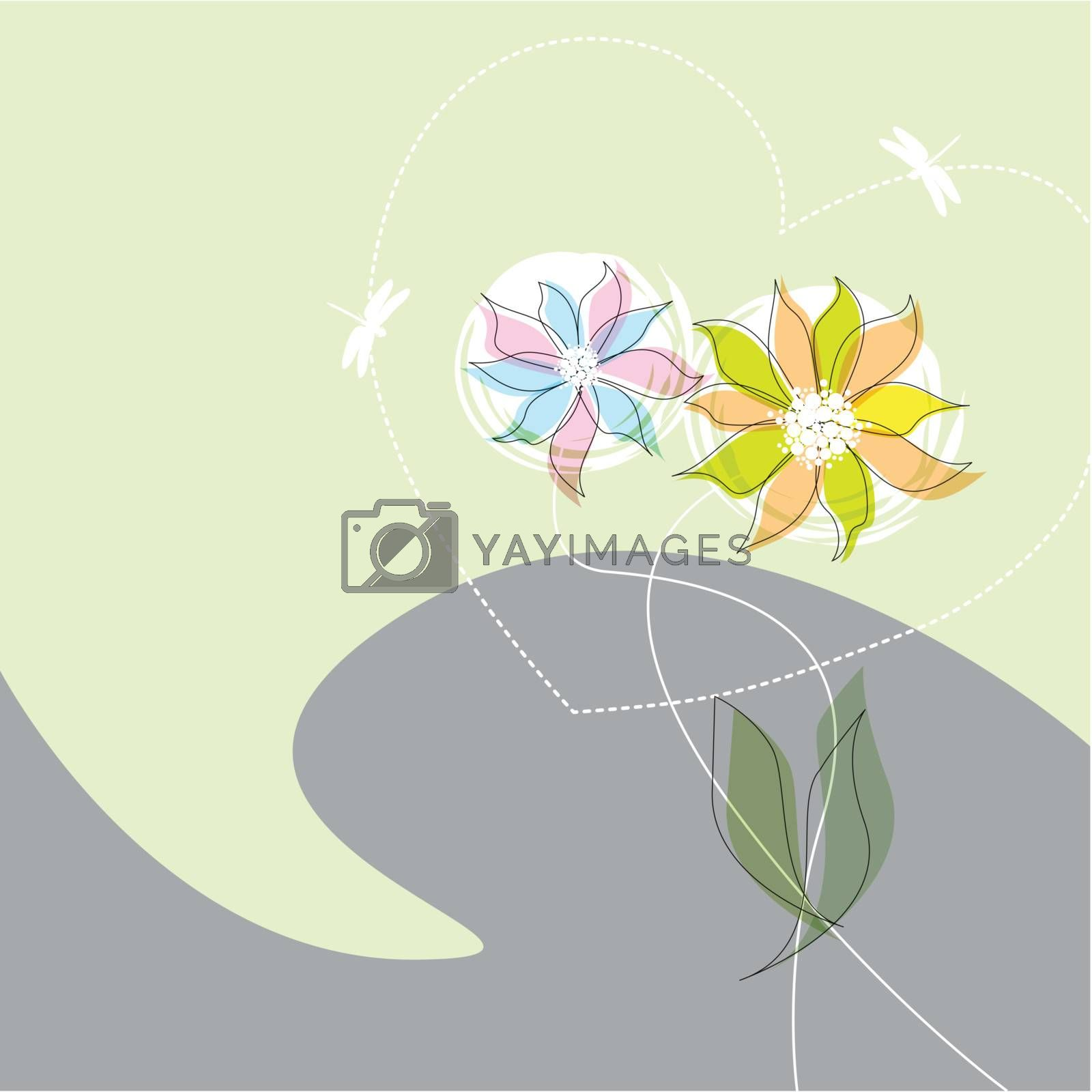 Royalty free image of Graphic flower dance with heart by nirots