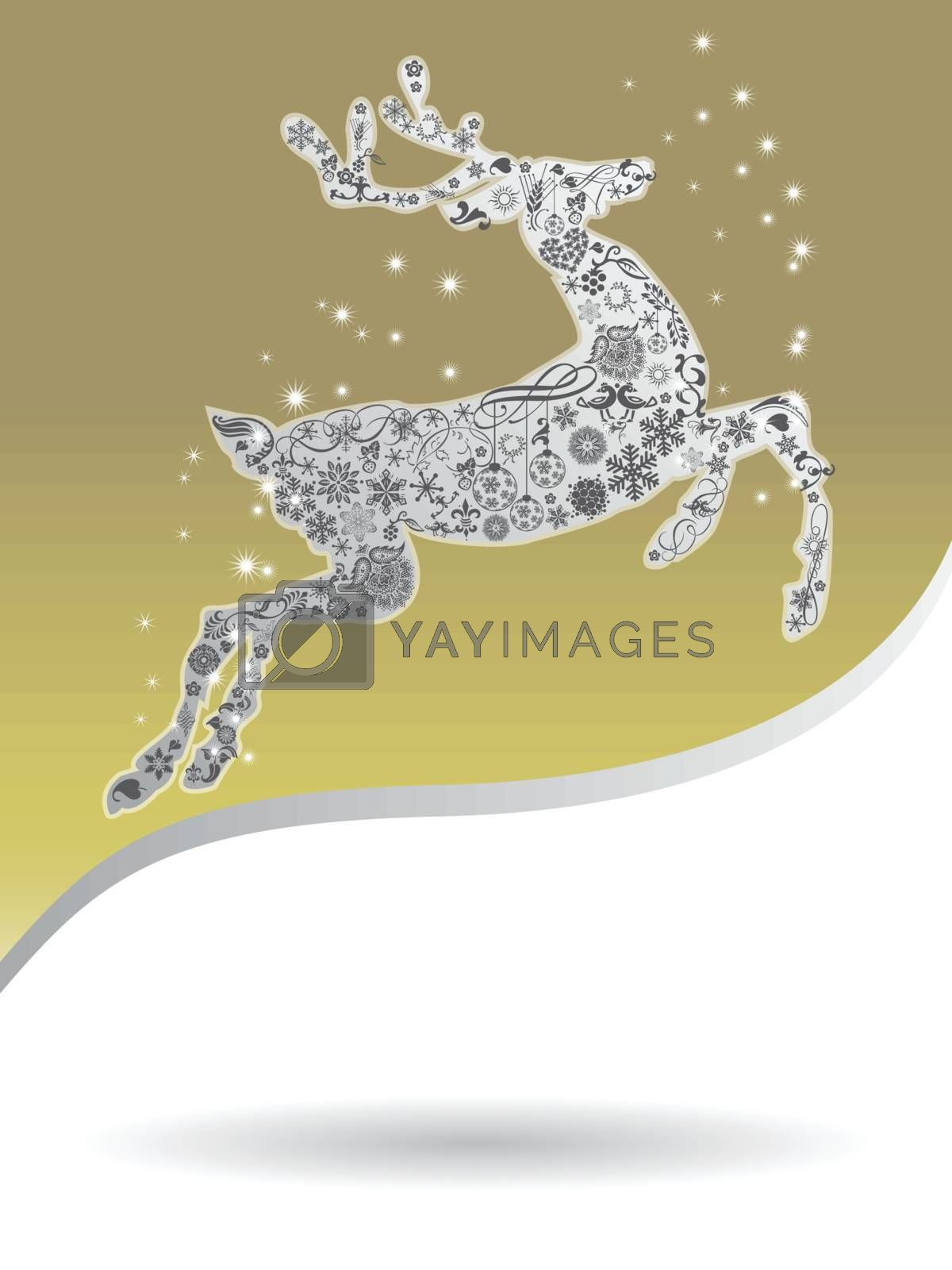 Royalty free image of Christmas card with gold reindeer whit copy space by nirots