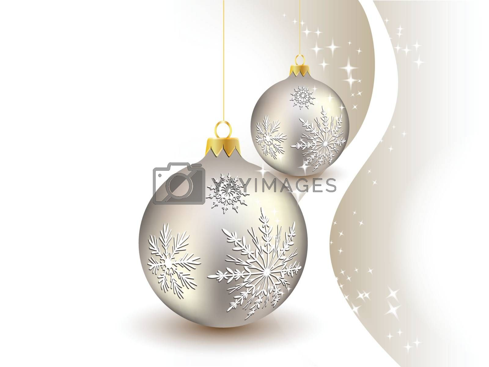 Royalty free image of Christmas ball hanging on golden line on snowy winter background by nirots