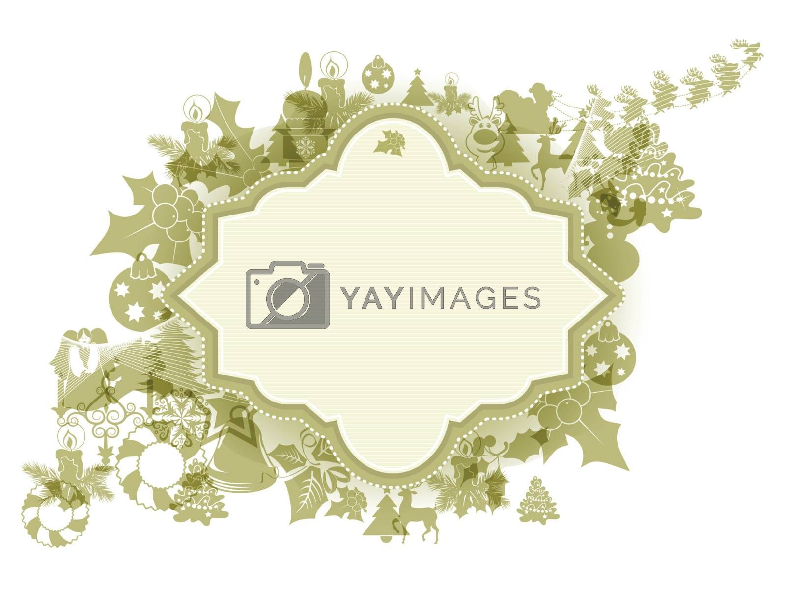 The Christmas decorations on white background with copy space