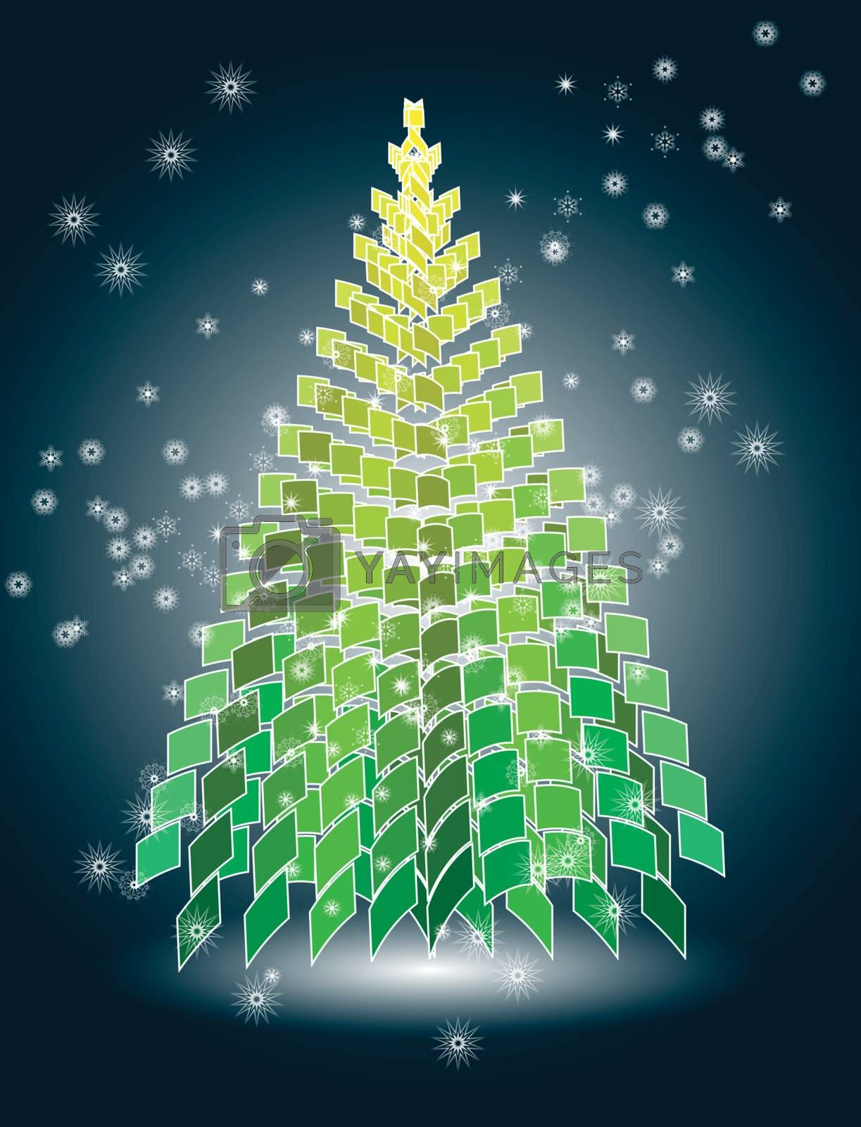 Royalty free image of Christmas tree on snowy winter background by nirots
